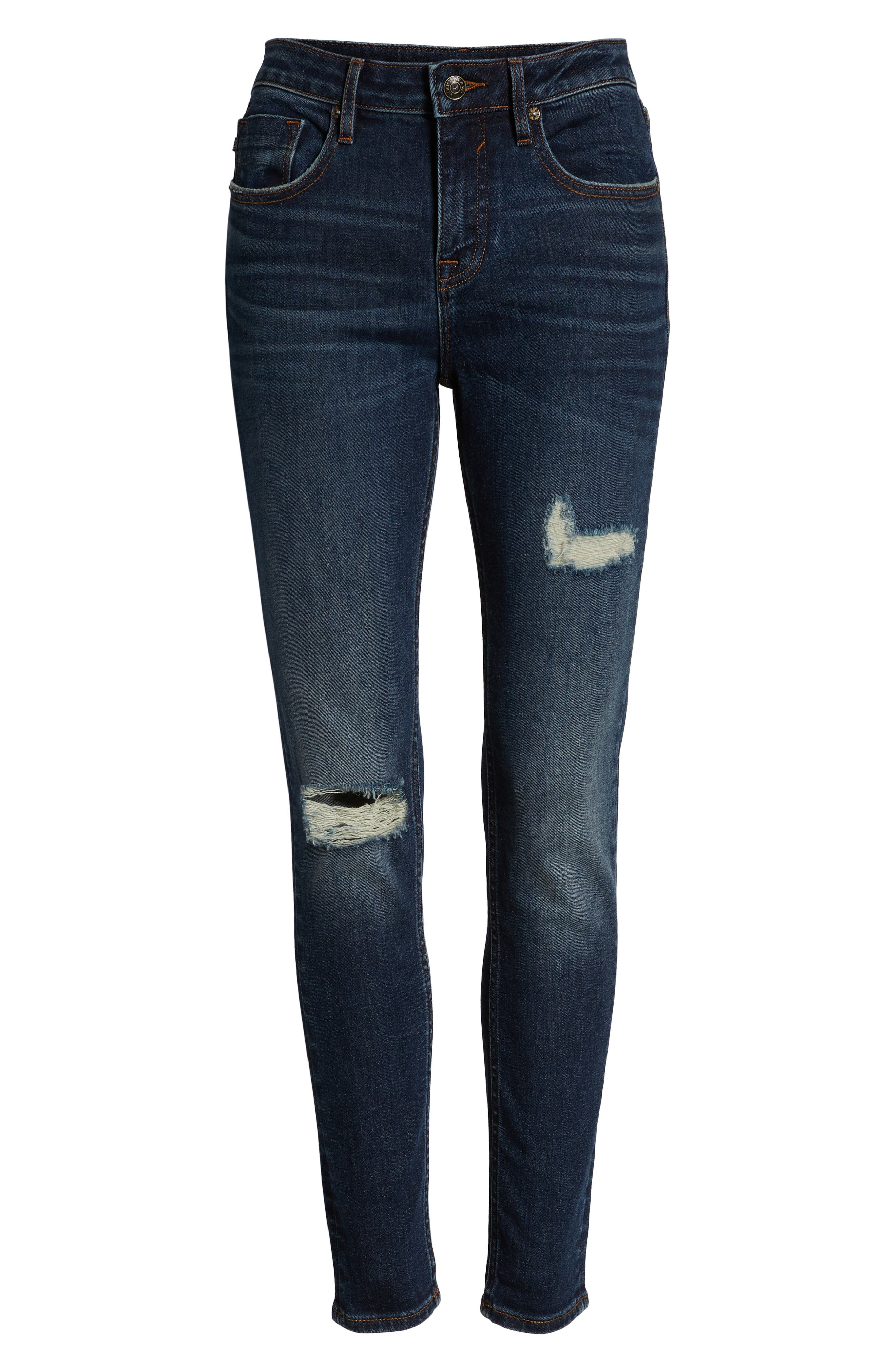 Marley Ripped Skinny Jeans,                             Alternate thumbnail 7, color,                             DARK WASH