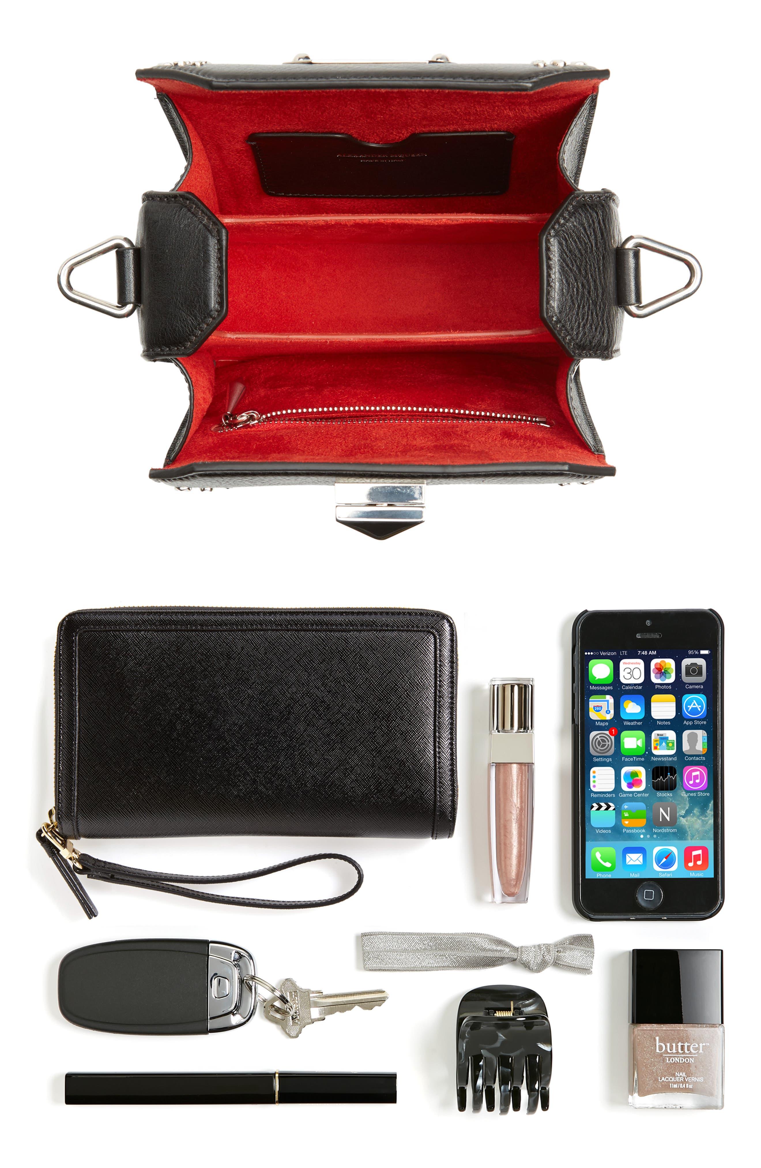 Box Bag 16 Studded Leather Bag,                             Alternate thumbnail 8, color,                             BLACK