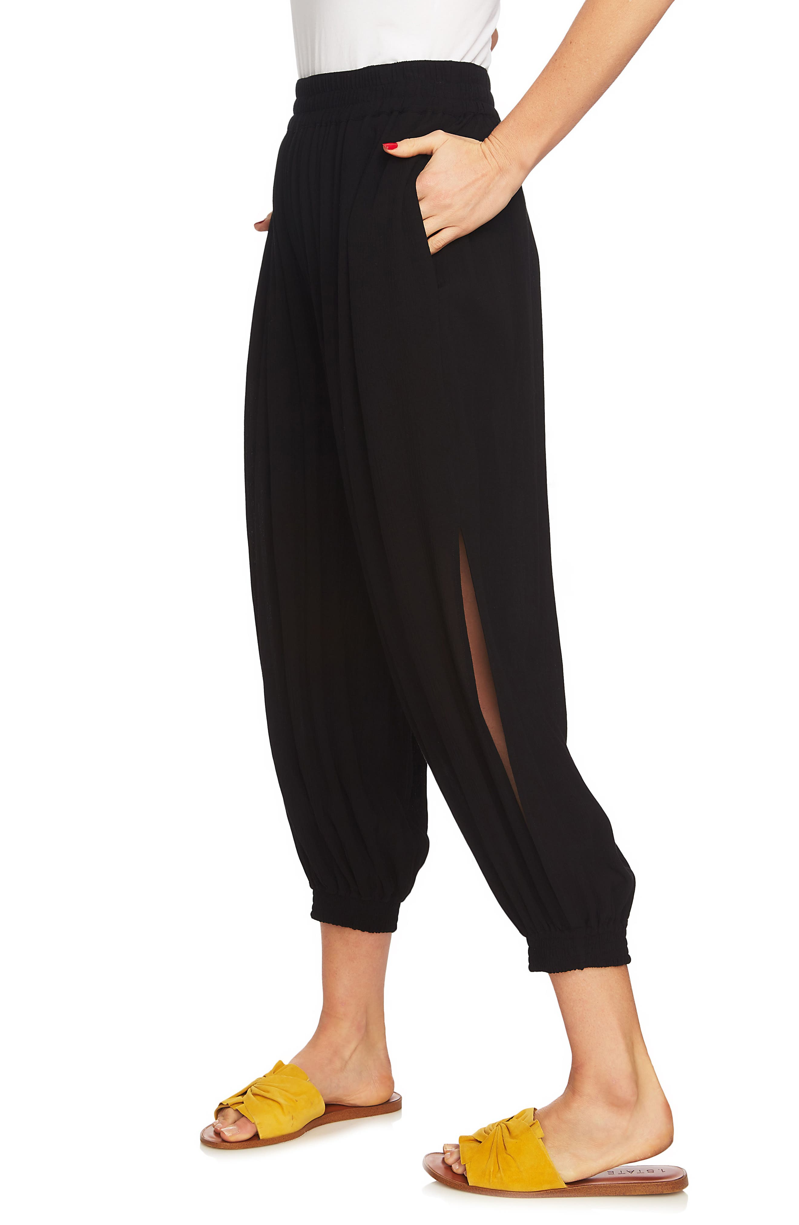 Smocked Cuff Harem Pants,                             Alternate thumbnail 2, color,                             RICH BLACK