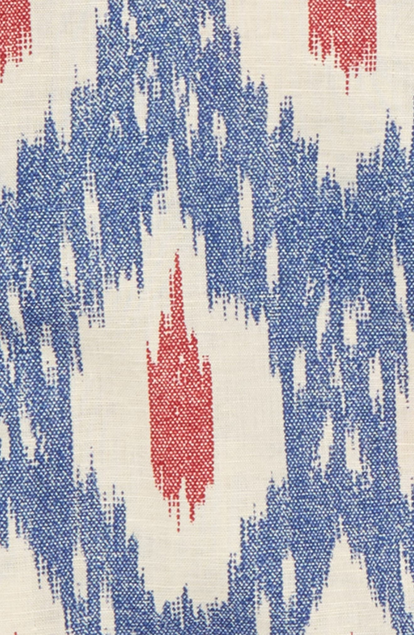 Ikat Print Popover Shirt,                             Alternate thumbnail 2, color,                             BLUE RED