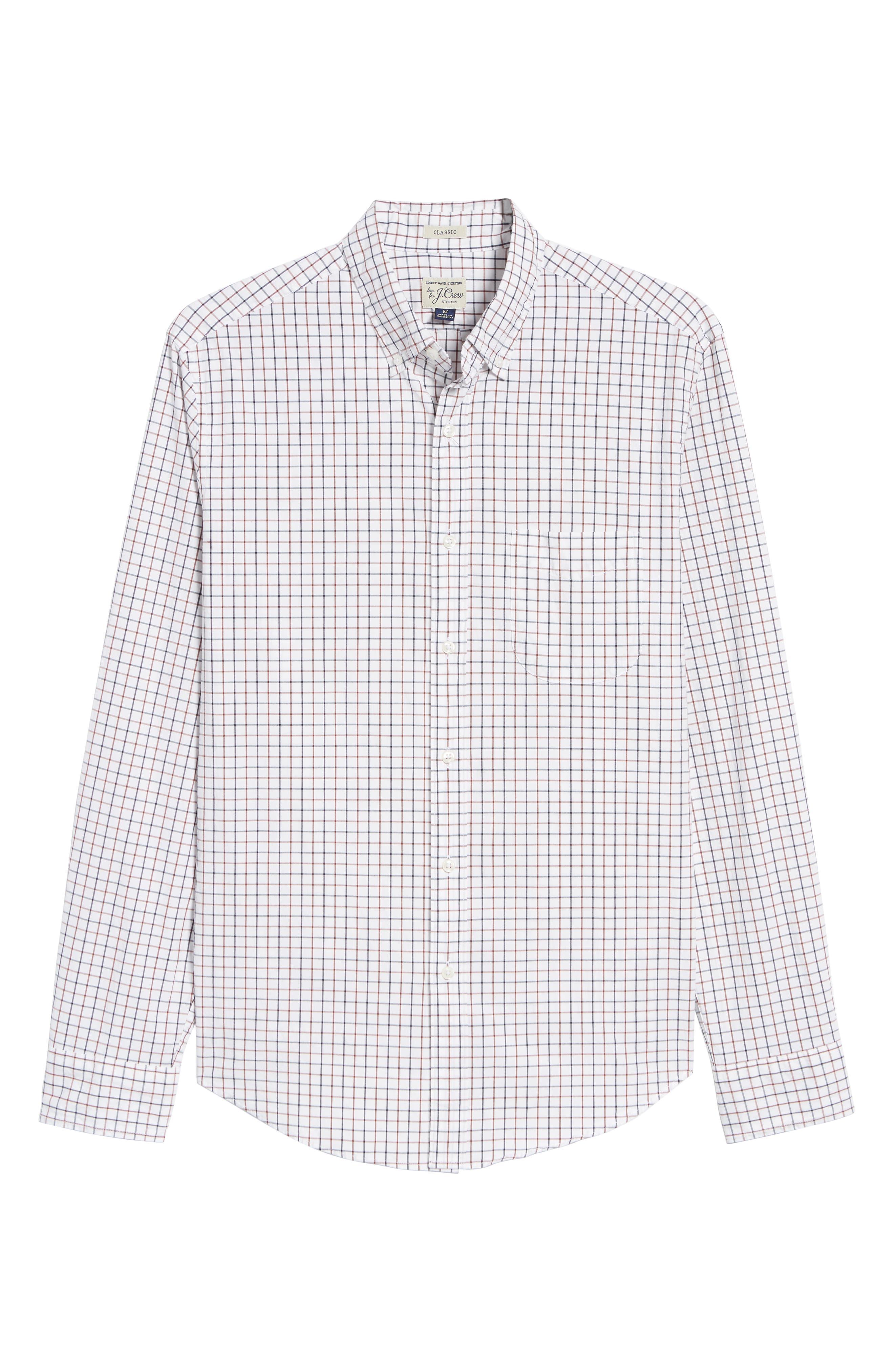 Slim Fit Stretch Secret Wash Stripe Tattersall Sport Shirt,                             Alternate thumbnail 5, color,                             NAVY MAHOGANY
