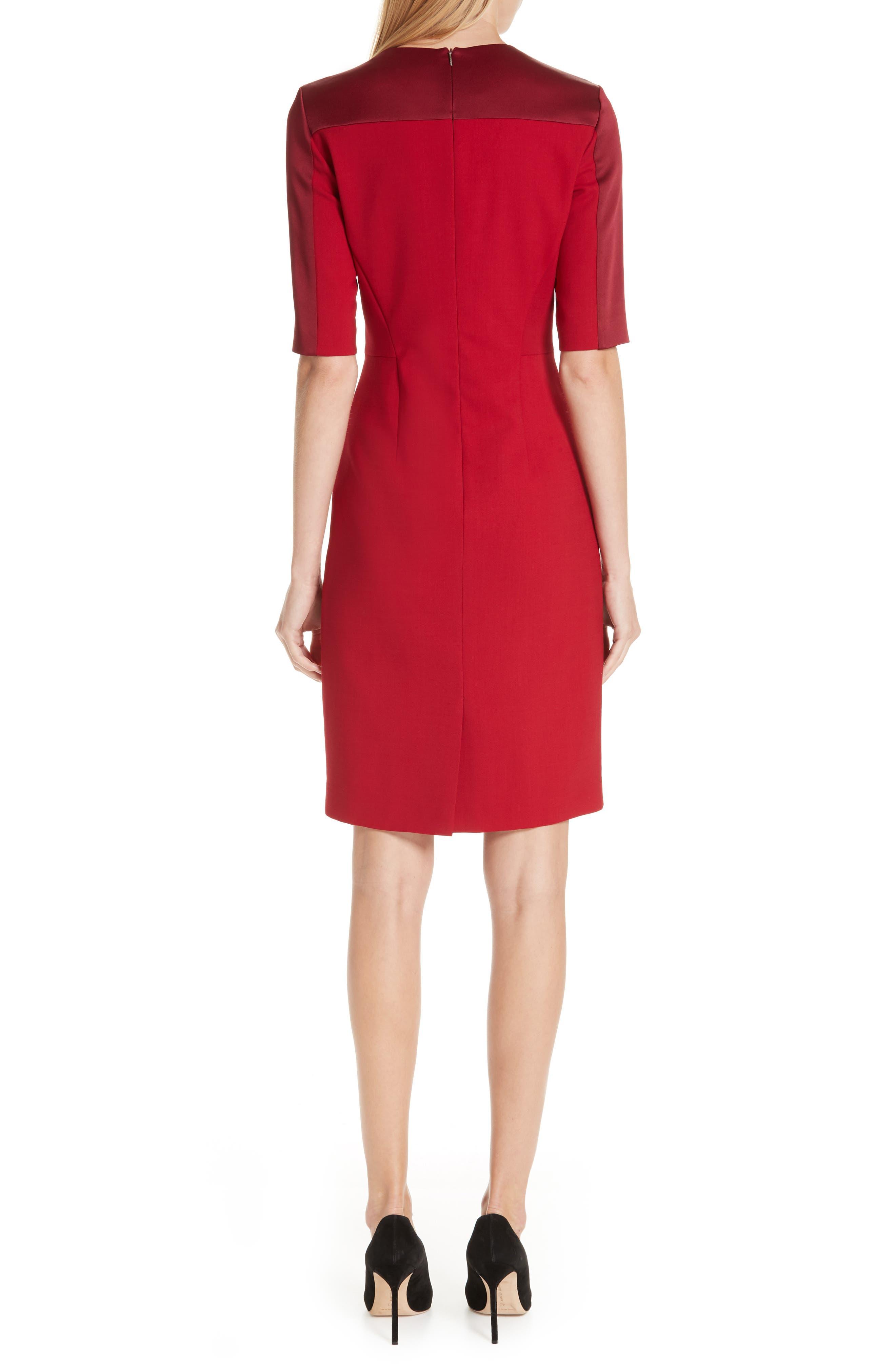 Danufa Stretch Wool Sheath Dress,                             Alternate thumbnail 2, color,                             DARK RED