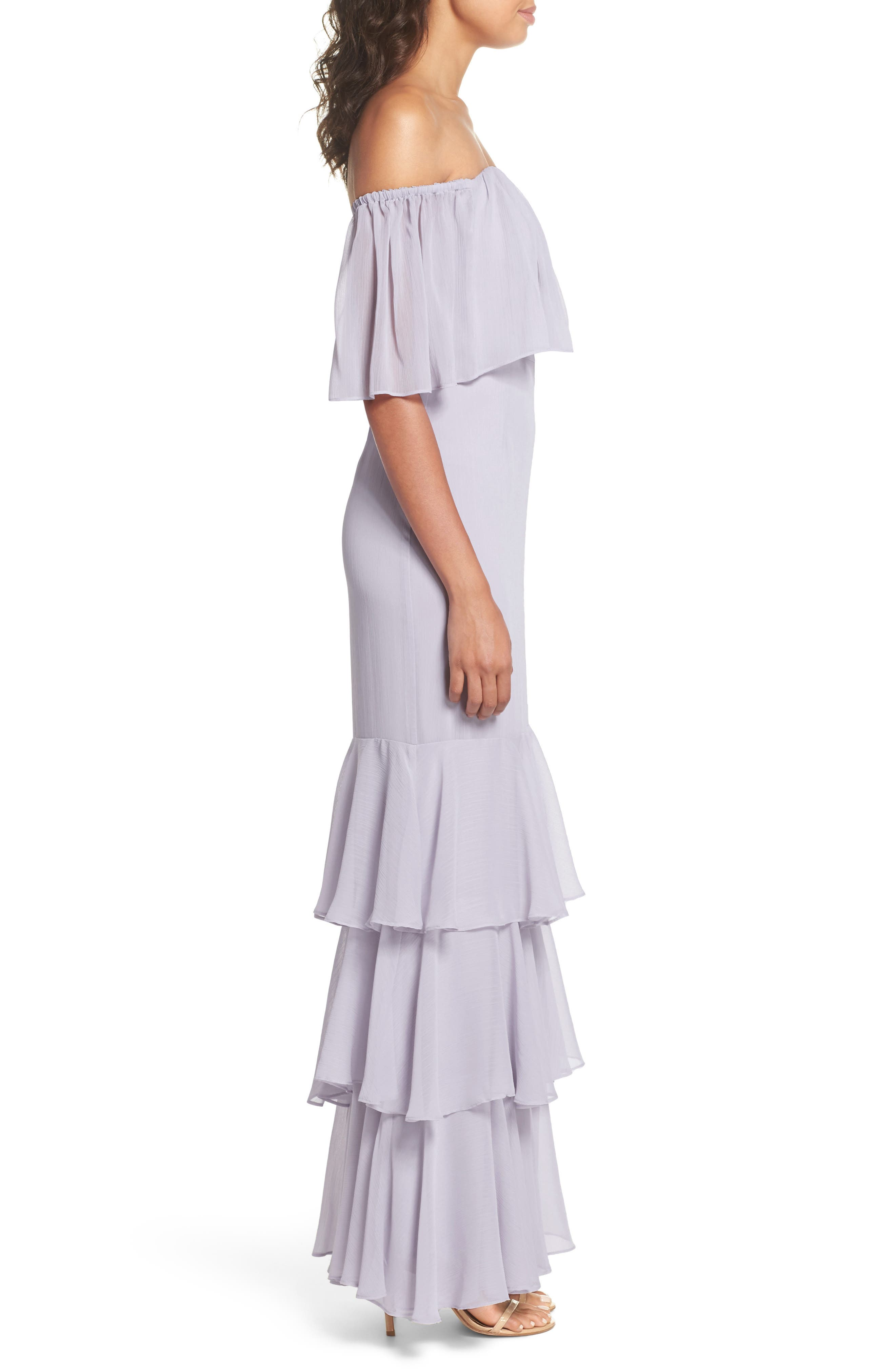 Penelope Off the Shoulder Popover Gown,                             Alternate thumbnail 3, color,                             020