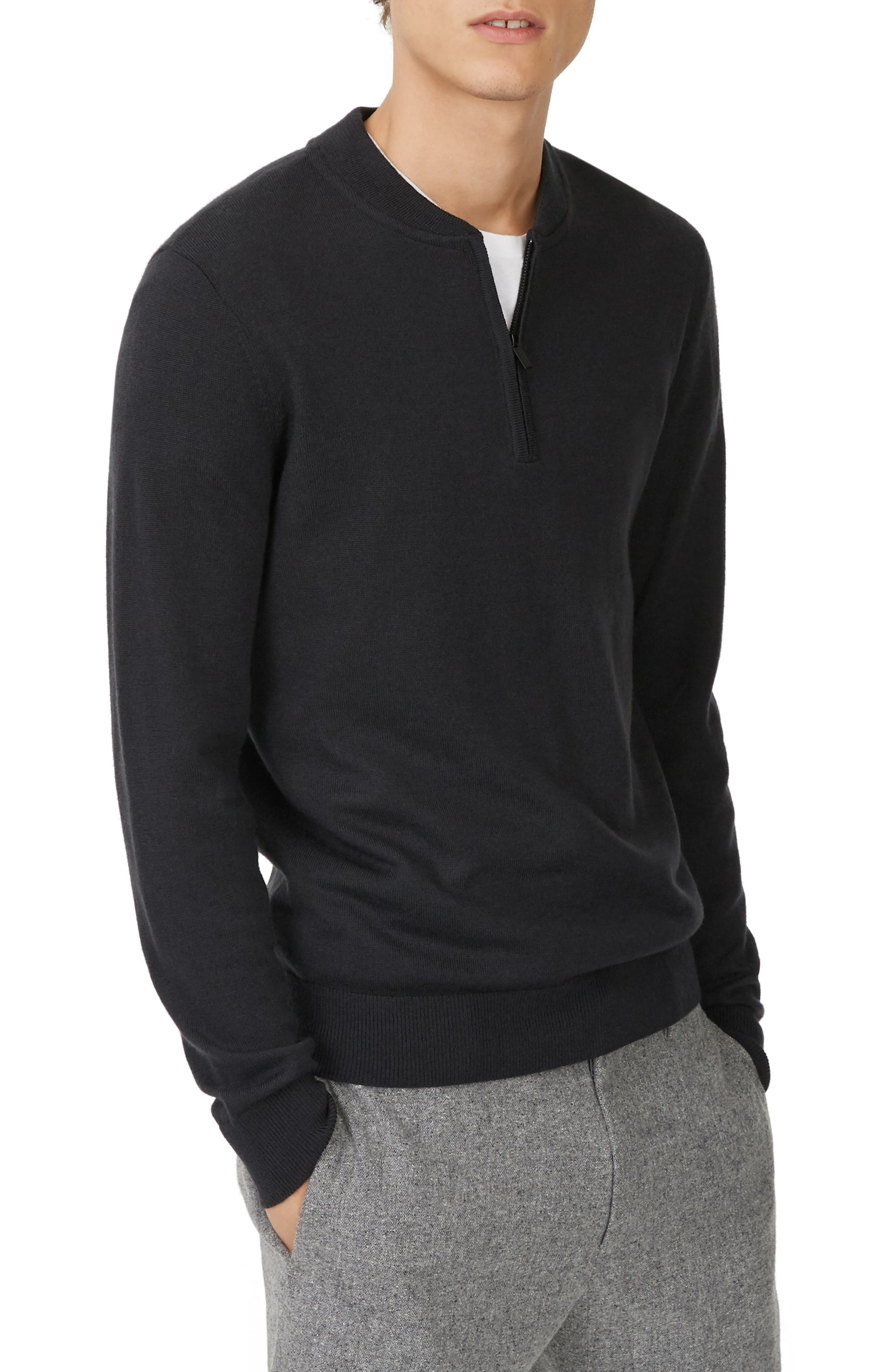 Trim Fit Quarter Zip Wool Sweater,                             Main thumbnail 1, color,                             020