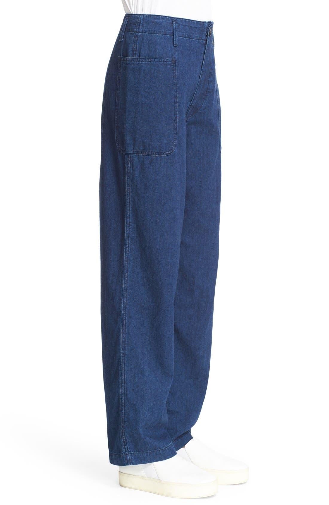 Rinsed Denim Patch Pocket Utility Pants,                             Alternate thumbnail 4, color,                             400
