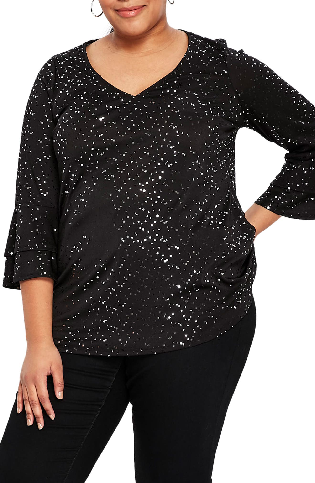 Sparkle Bell Sleeve Top,                         Main,                         color,