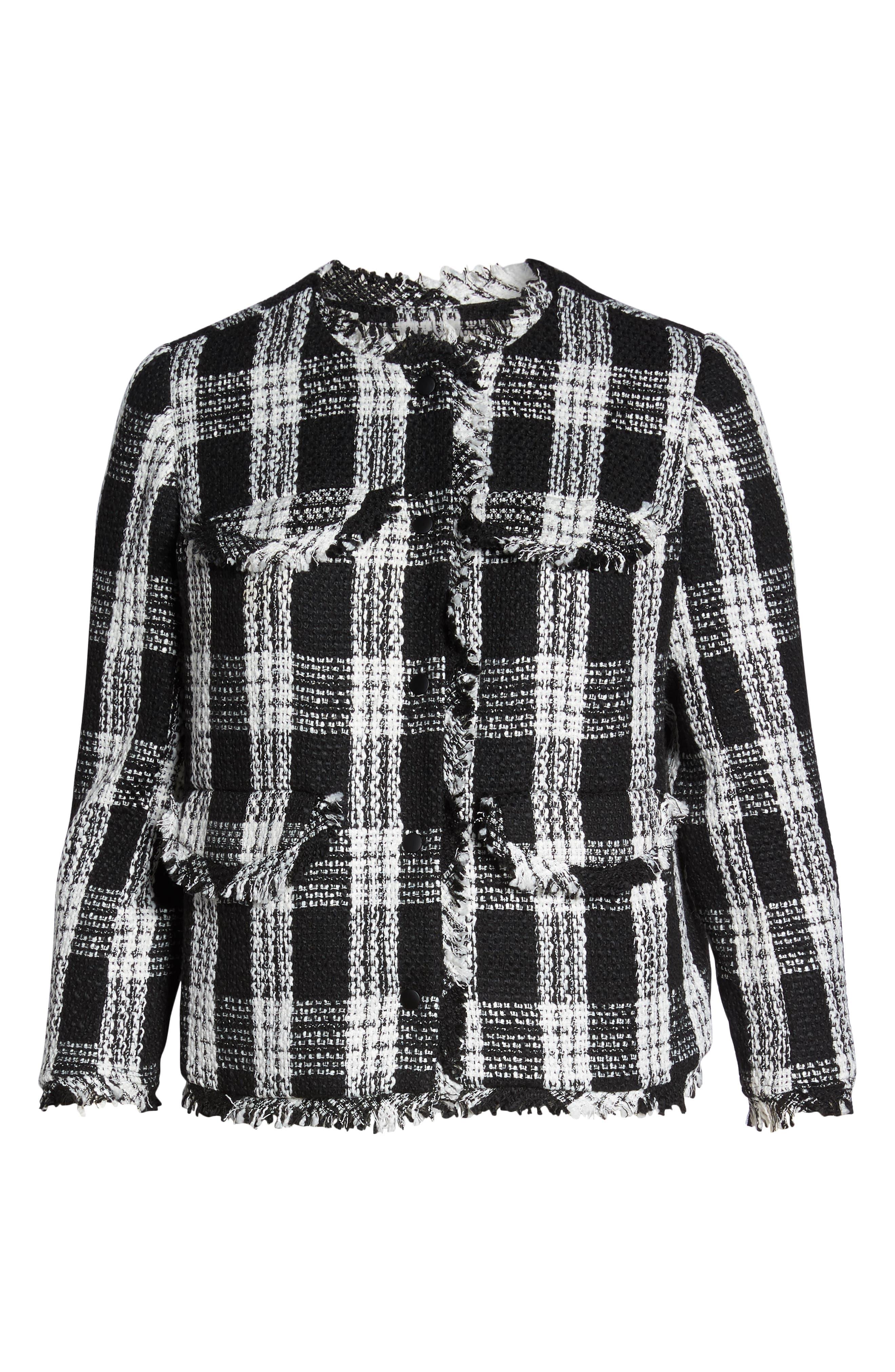 Raw Edge Plaid Tweed Jacket,                             Alternate thumbnail 5, color,                             001