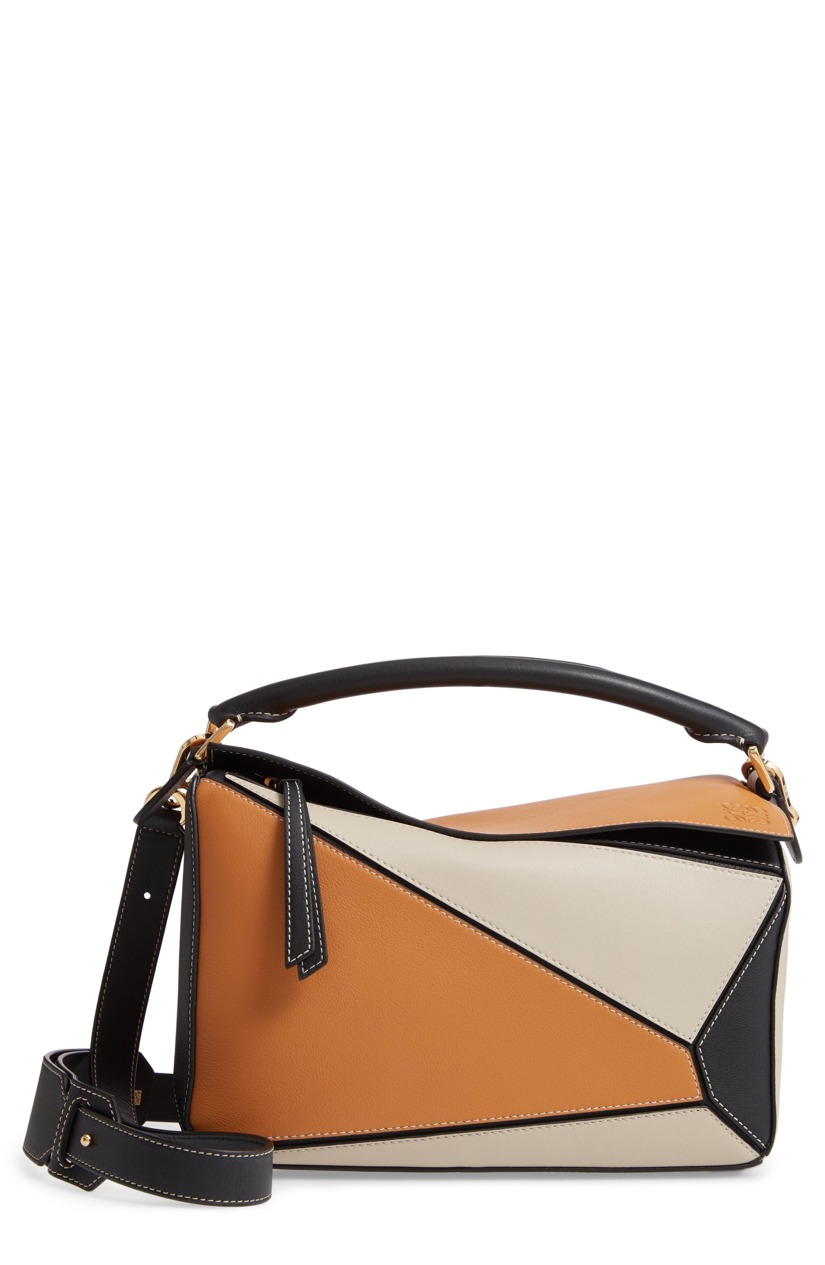 LOEWE,                             Puzzle Calfskin Leather Shoulder Bag,                             Main thumbnail 1, color,                             AMBER/ LIGHT OAT