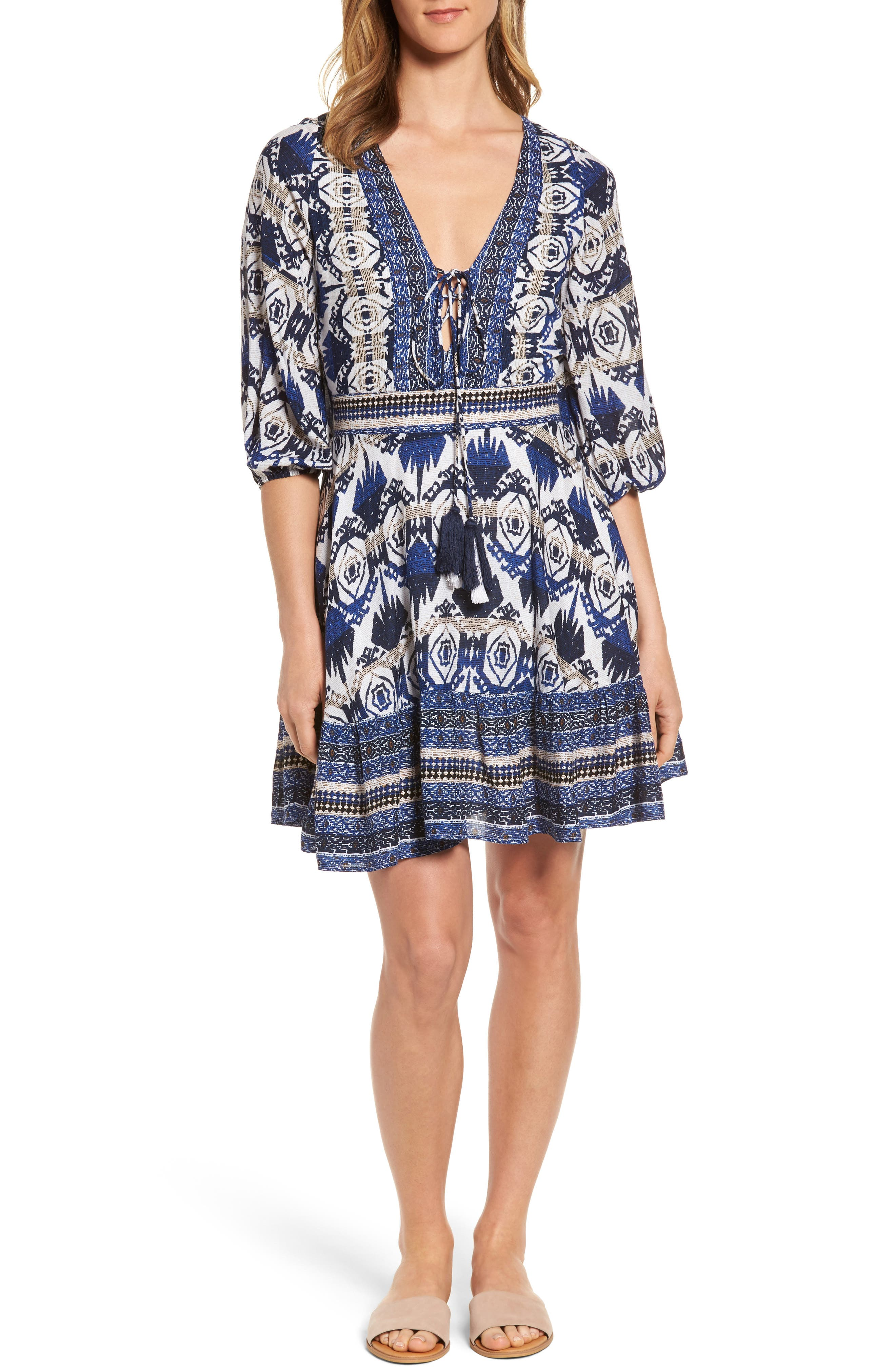 Camille Mixed Print Fit & Flare Dress,                         Main,                         color, 400