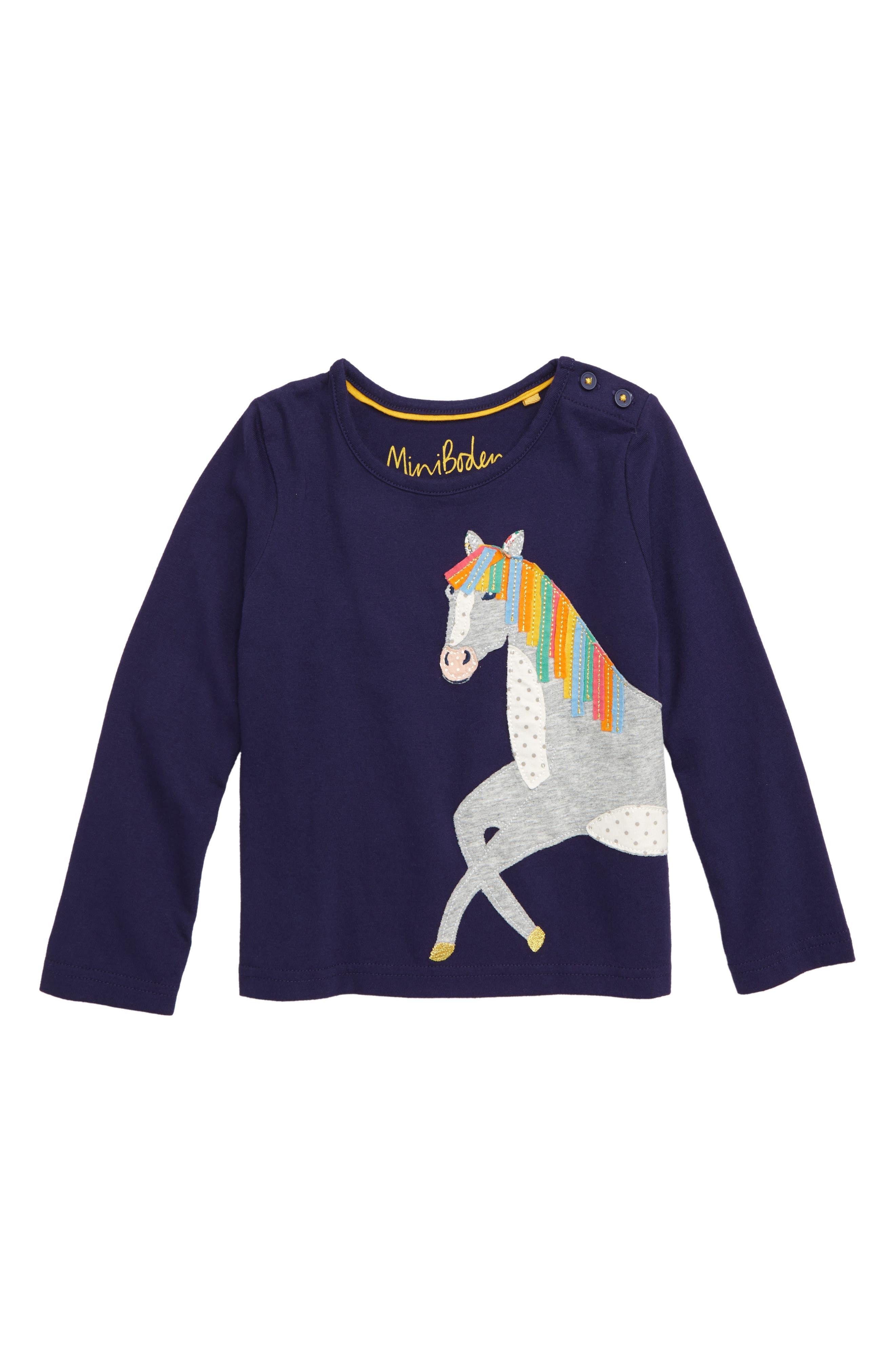 Animal Appliqué Tee,                             Main thumbnail 1, color,                             PRUSSIAN BLUE HORSE
