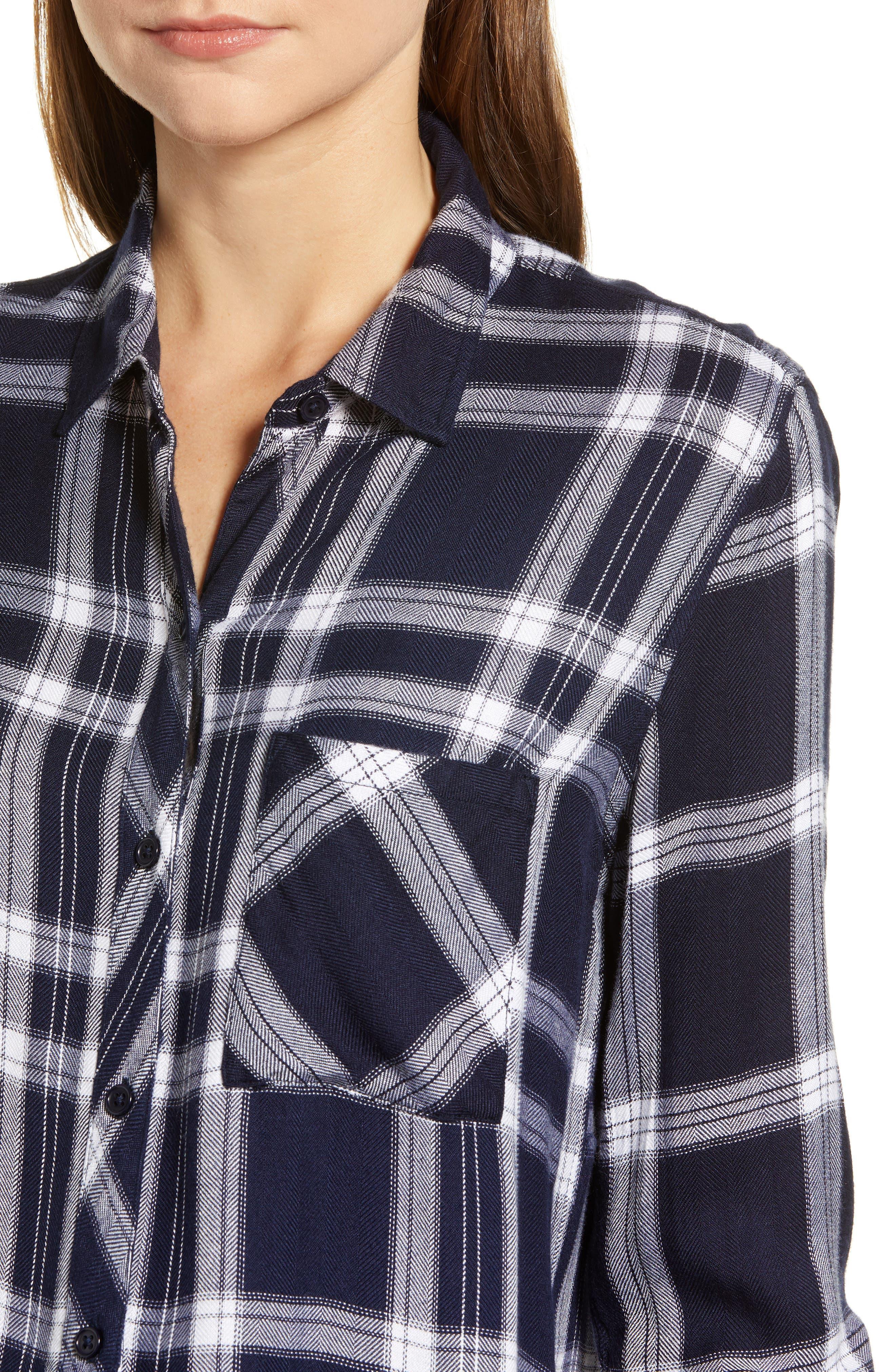 Liza Plaid Shirt,                             Alternate thumbnail 4, color,                             NAVY MIDNIGHT POWDER