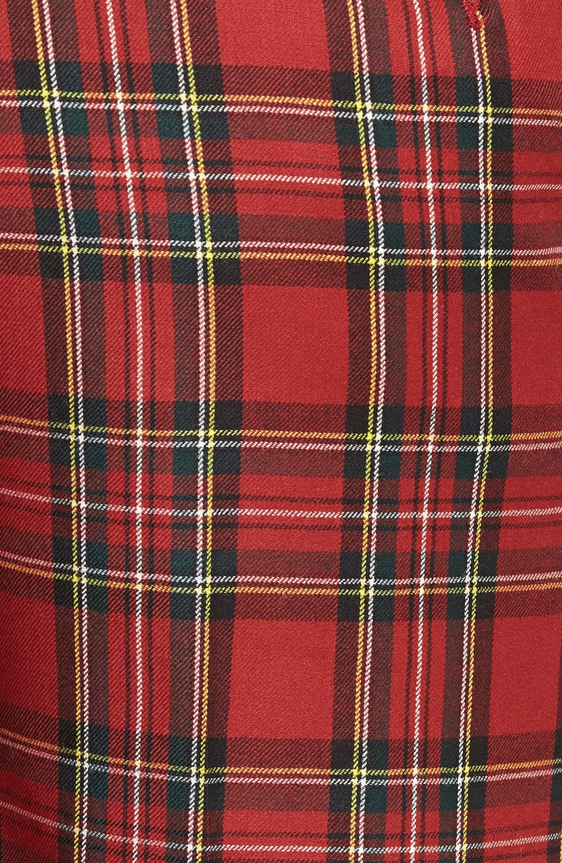 Flat Front Plaid Wool Trousers,                             Alternate thumbnail 2, color,                             RED