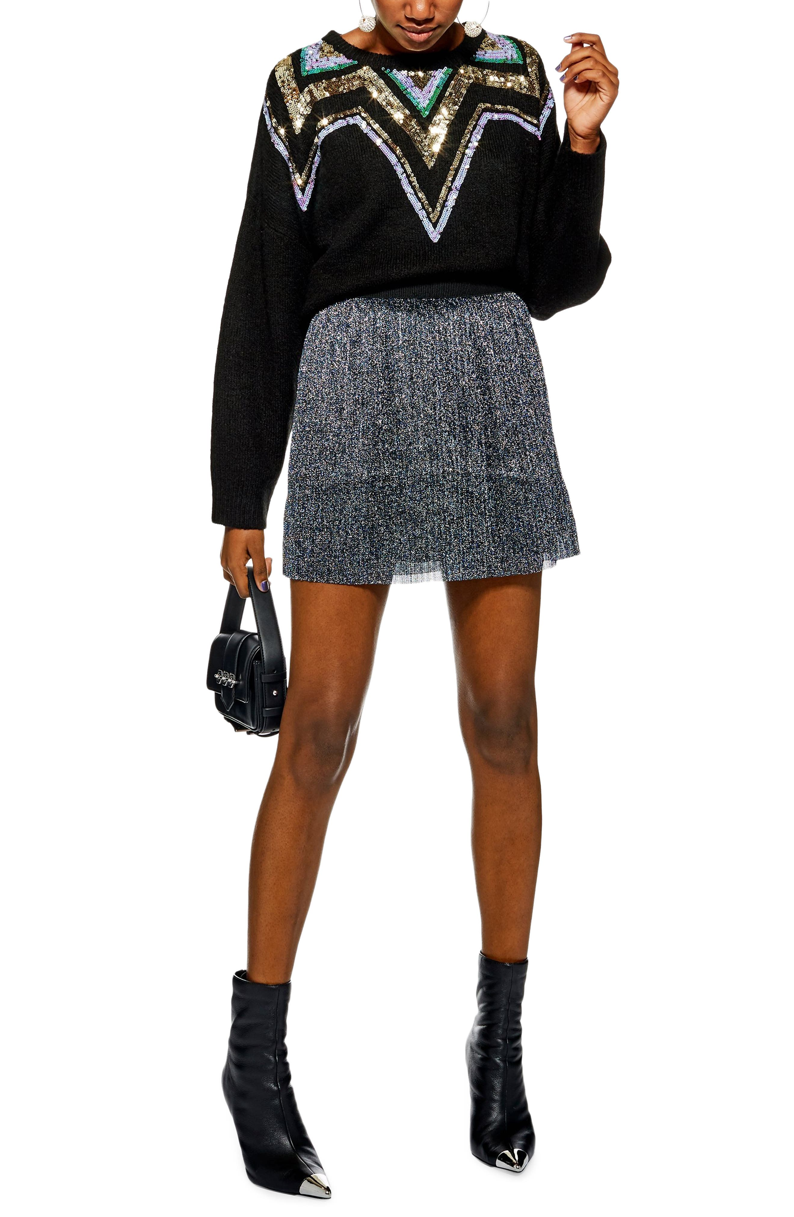 Metallic Plissé Miniskirt,                             Main thumbnail 1, color,                             BLUE MULTI