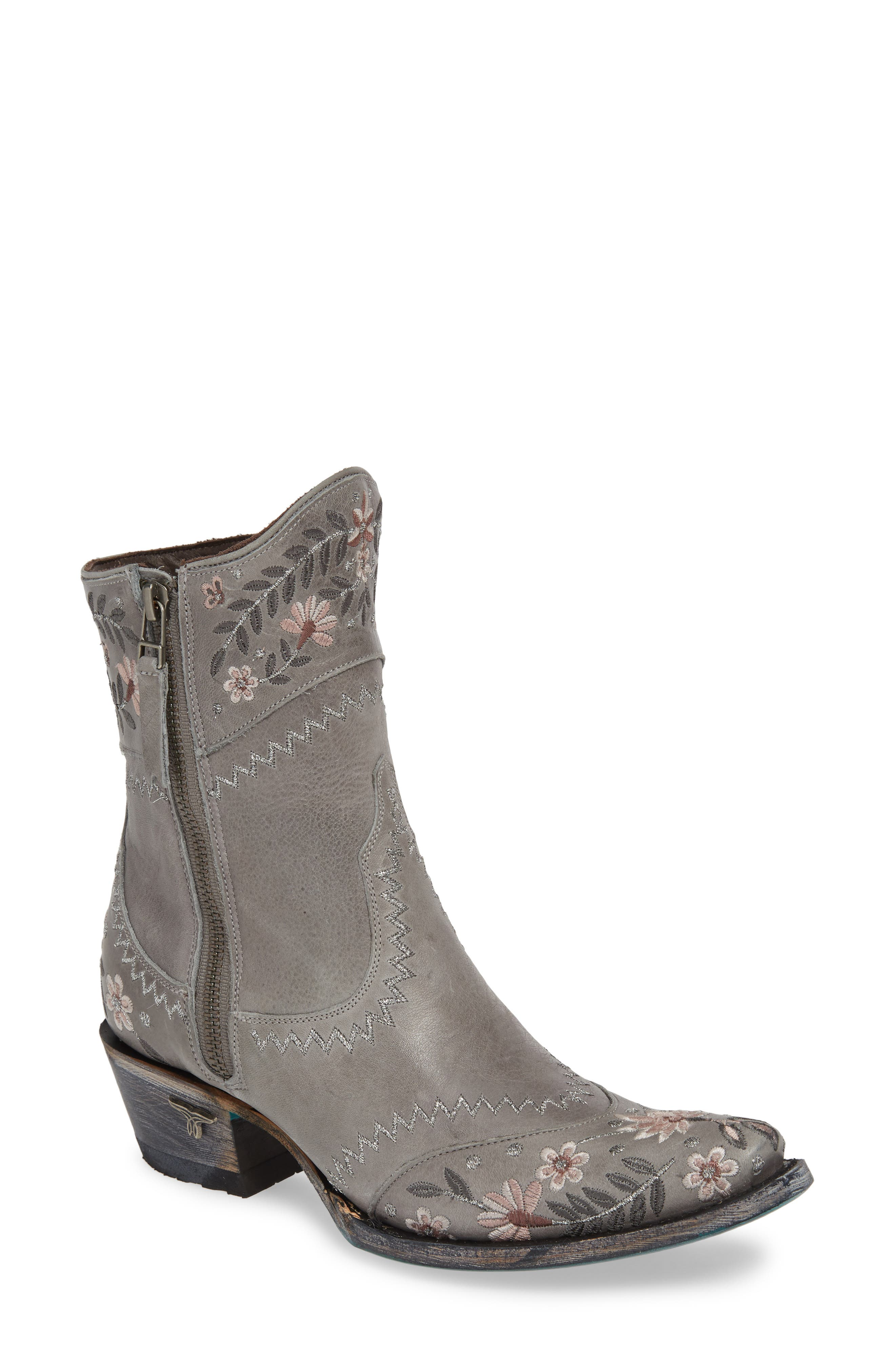 Landrun Gardens Western Boot, Main, color, GRAY LEATHER