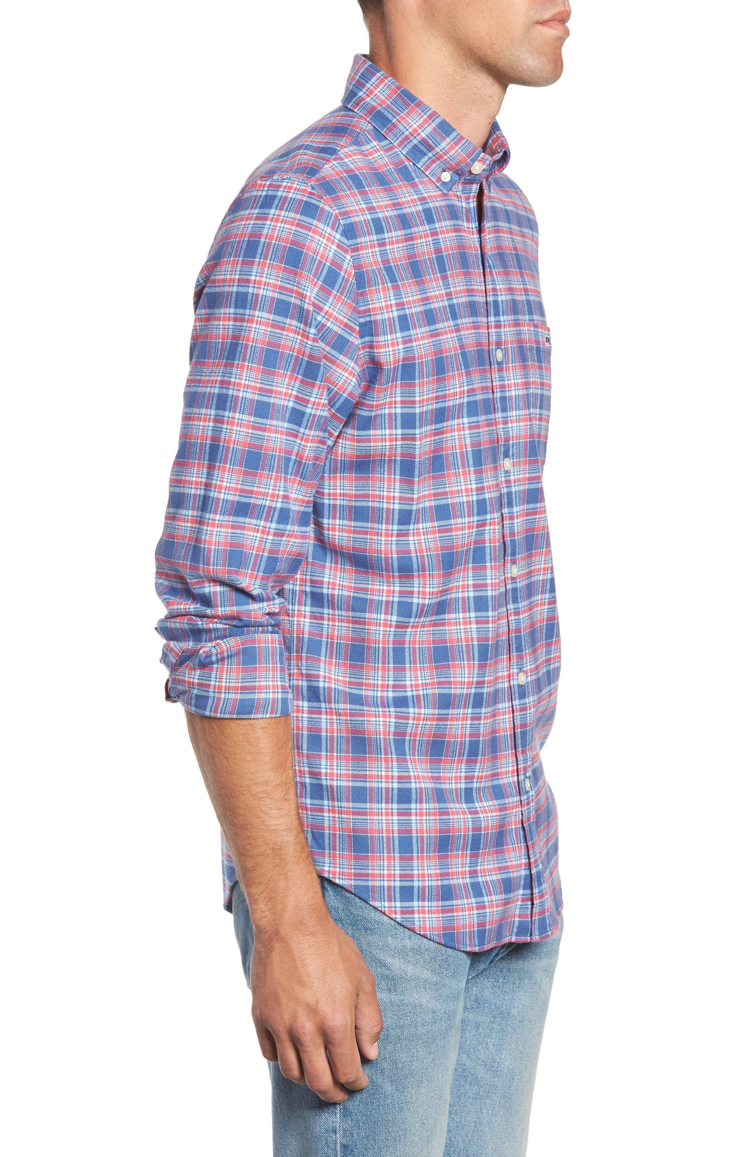 VINEYARD VINES,                             Lockwood Regular Fit Plaid Flannel Shirt,                             Alternate thumbnail 4, color,                             463