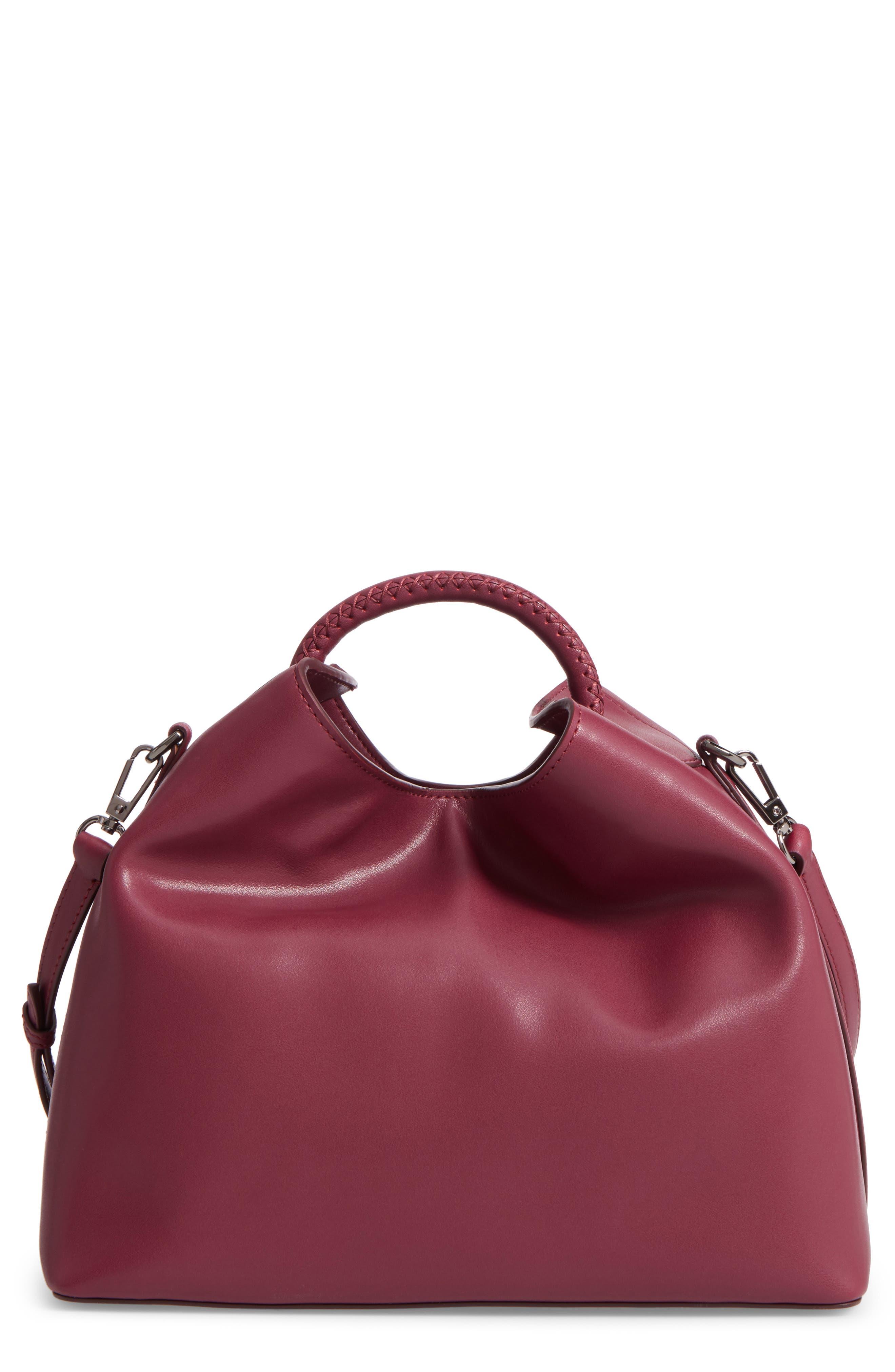 Raisin Leather Handbag,                             Main thumbnail 8, color,