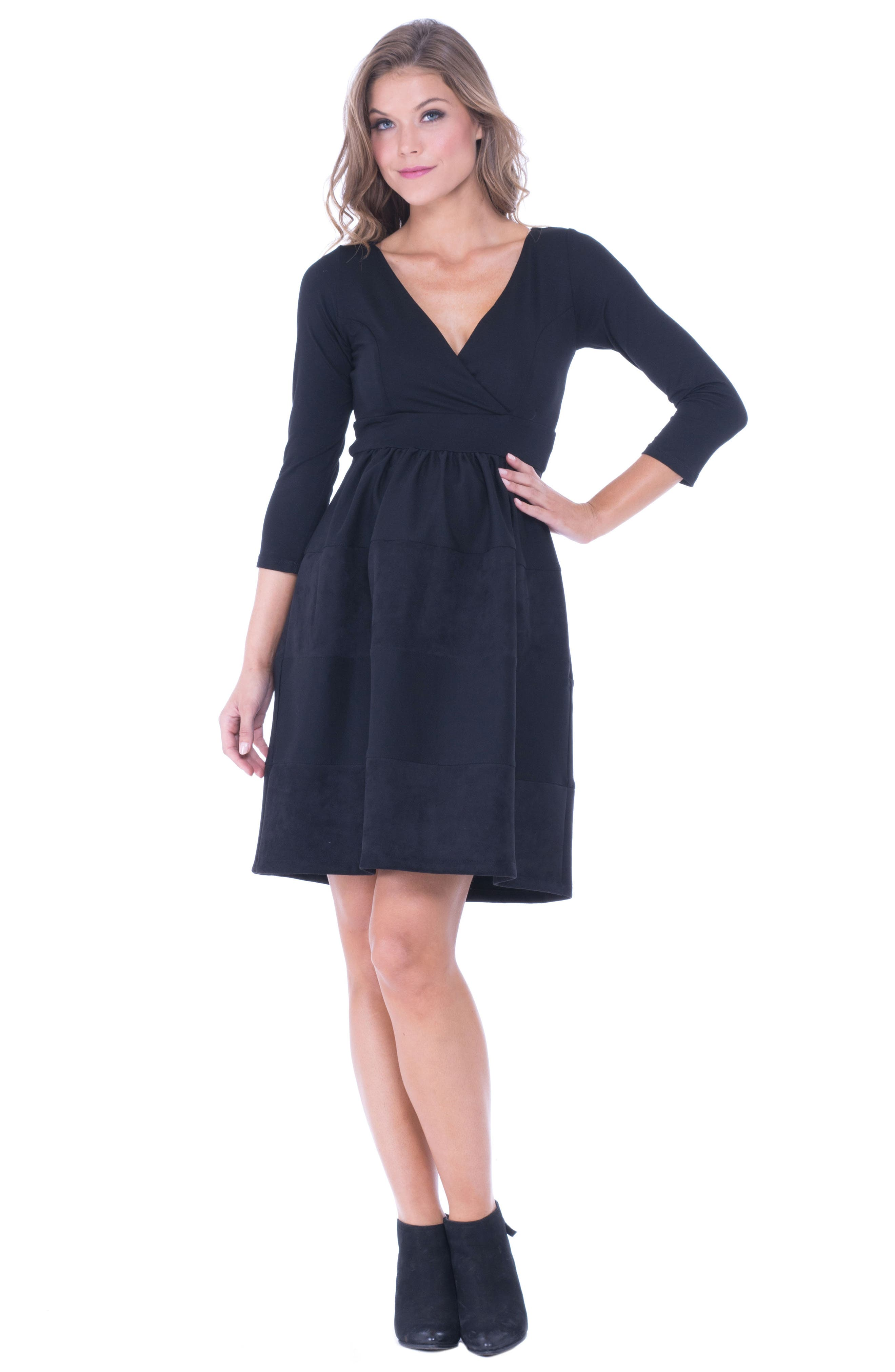 Faux Suede & Ponte Surplice Maternity Dress,                             Alternate thumbnail 3, color,                             BLACK