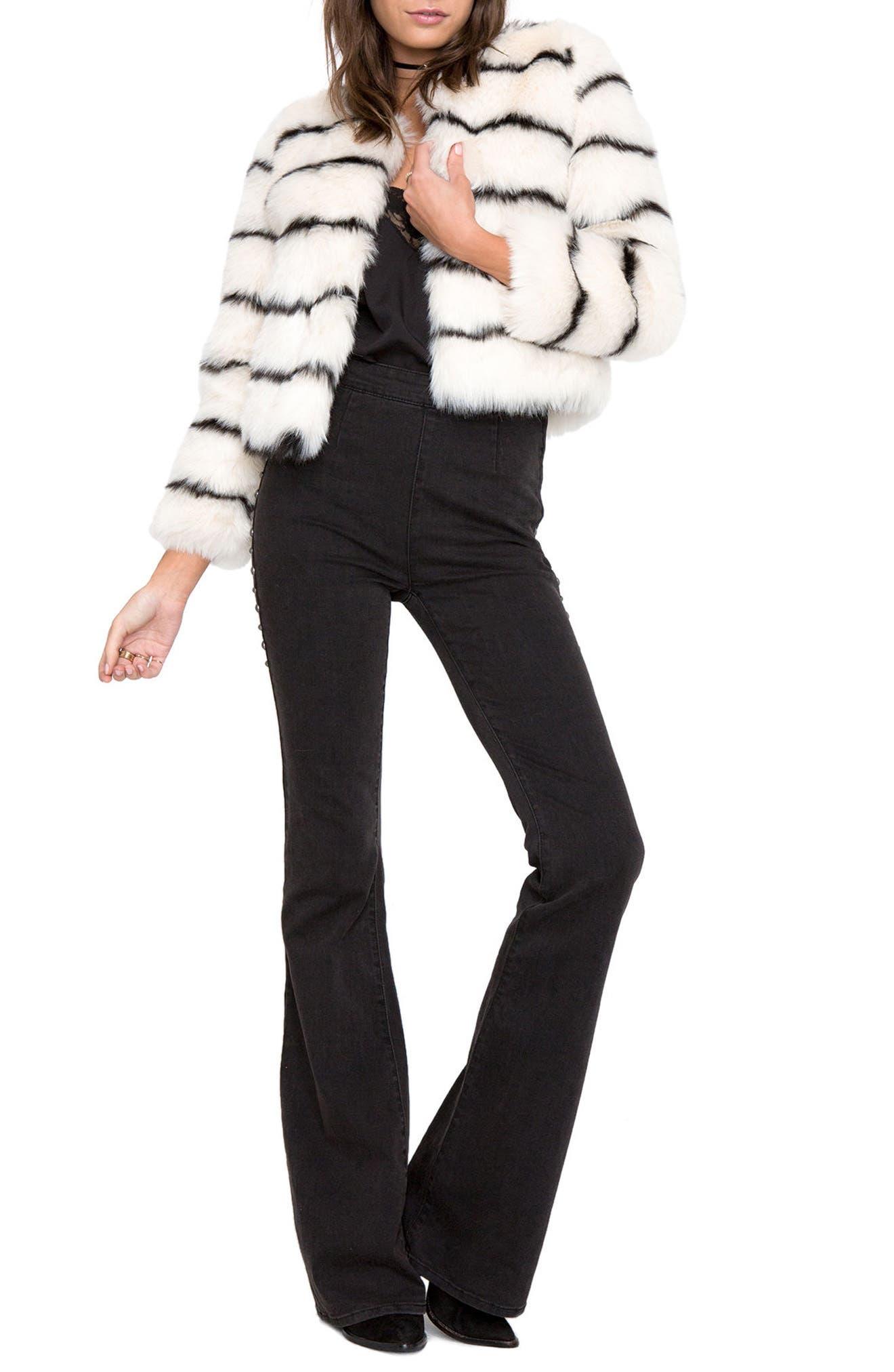 Tahlia Faux Fur Jacket,                             Alternate thumbnail 4, color,