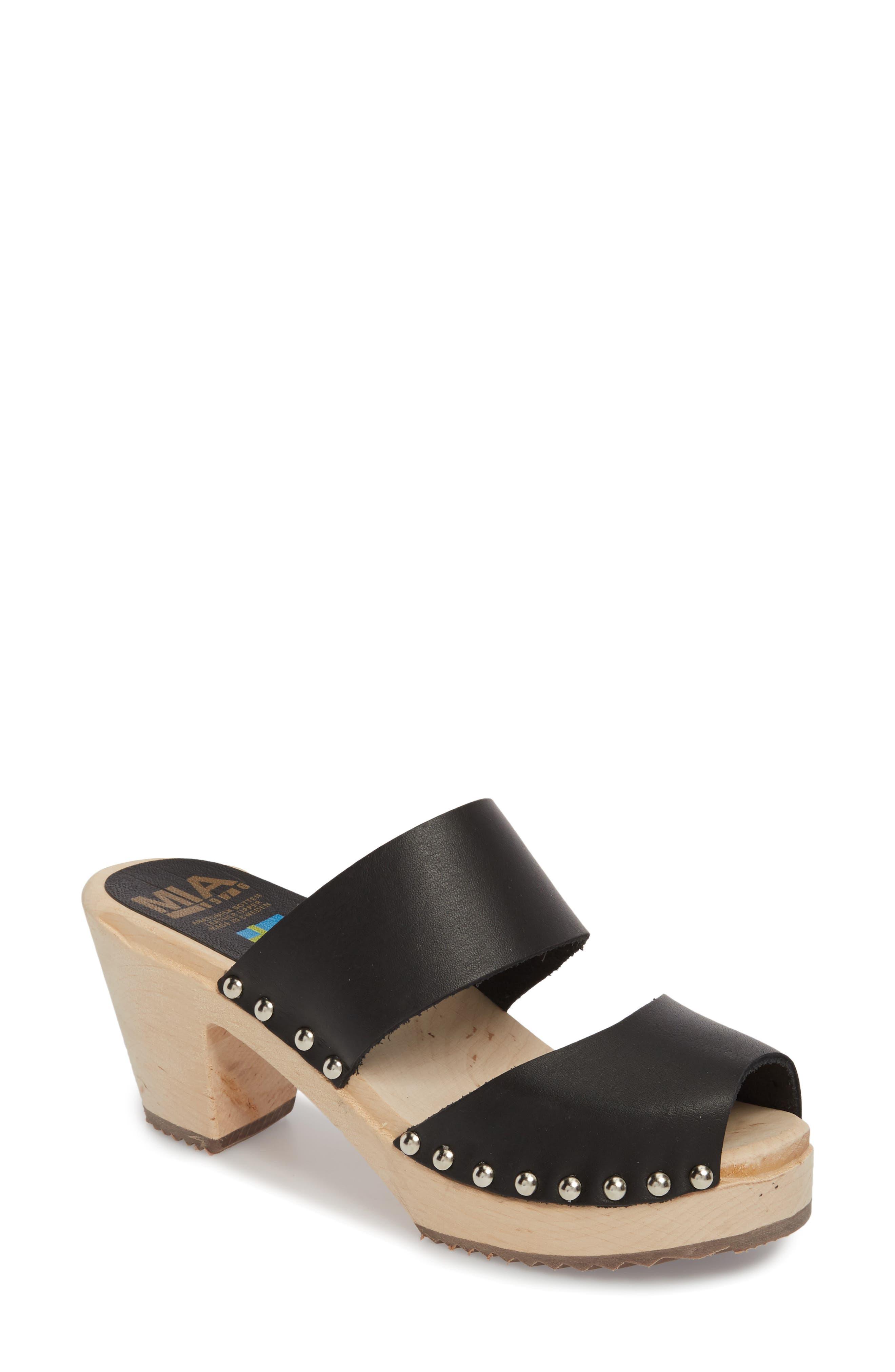 Elva Clog Sandal, Main, color, BLACK LEATHER