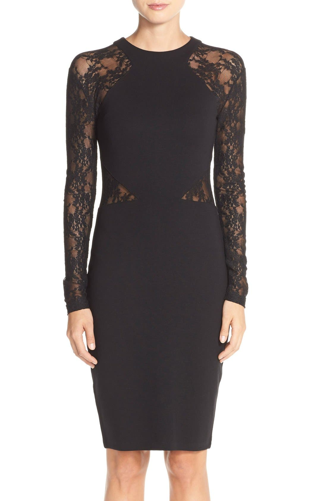 'Viven' Lace & Jersey Sheath Dress,                             Main thumbnail 1, color,                             001