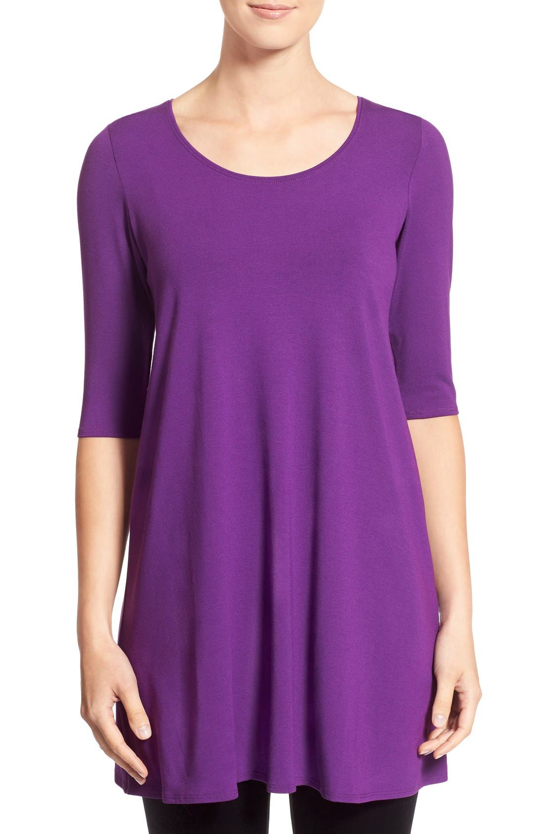 Scoop Neck Elbow Sleeve Jersey Tunic,                             Main thumbnail 15, color,