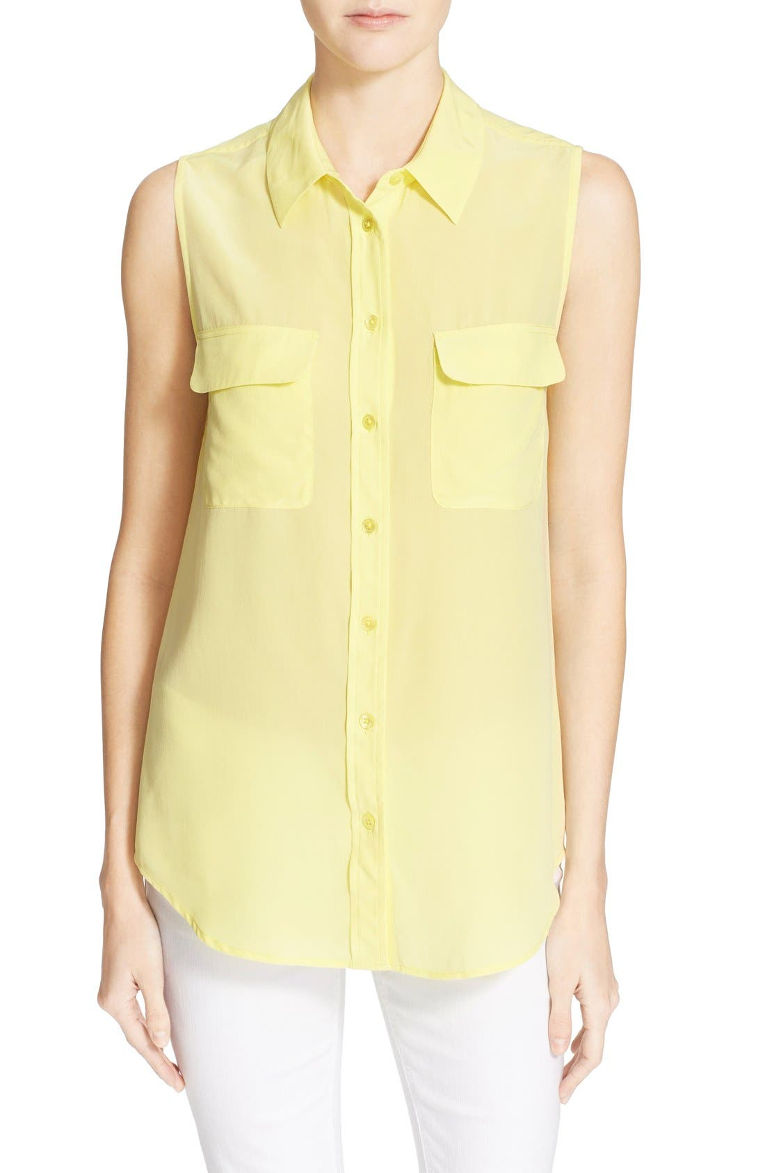 'Slim Signature' Sleeveless Silk Shirt,                             Main thumbnail 46, color,