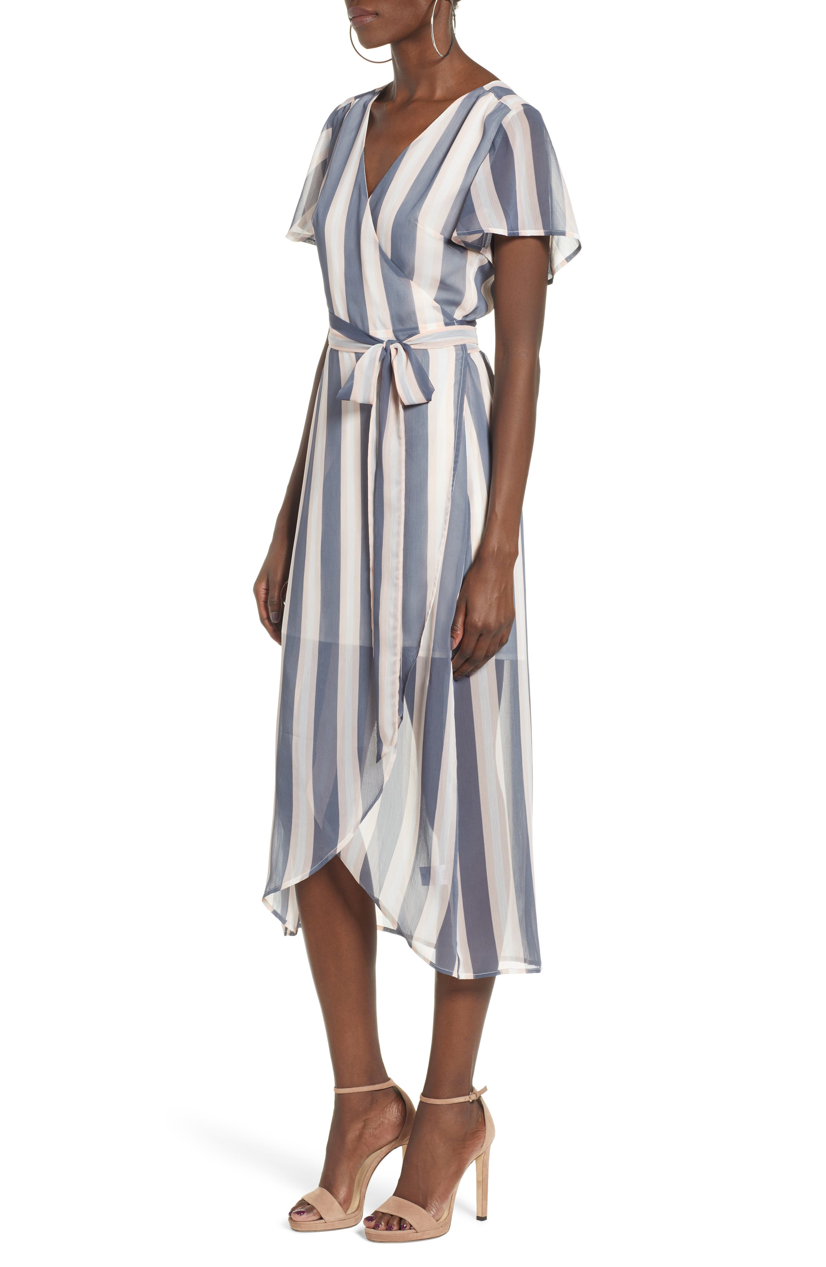 Wrap Midi Dress,                             Alternate thumbnail 3, color,                             GREY GRISAILLE FAB STRIPE