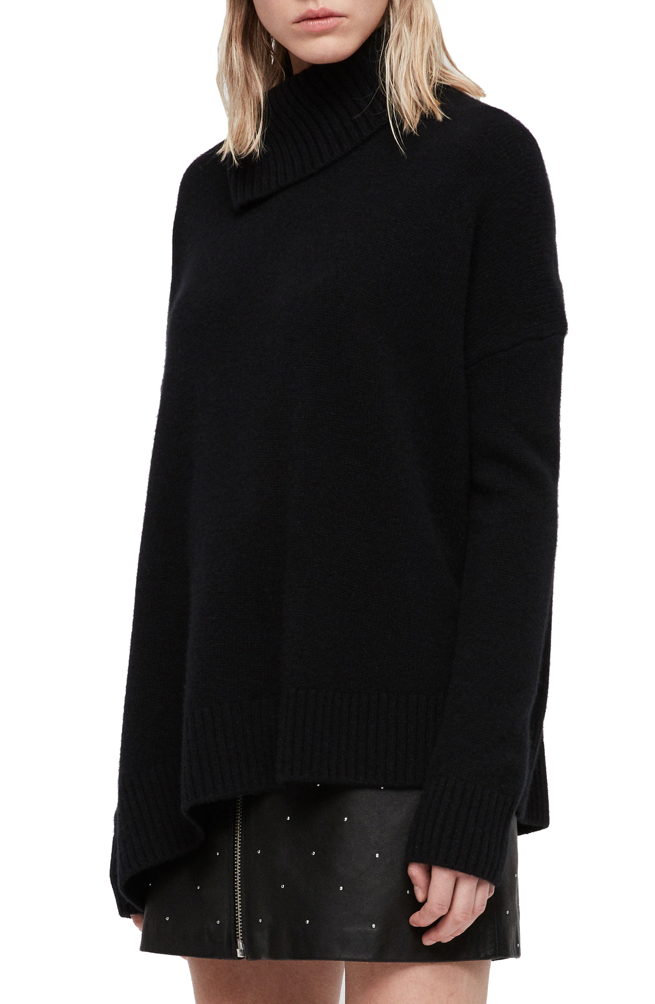 Witby Roll Neck Cashmere Sweater,                             Alternate thumbnail 3, color,                             BLACK