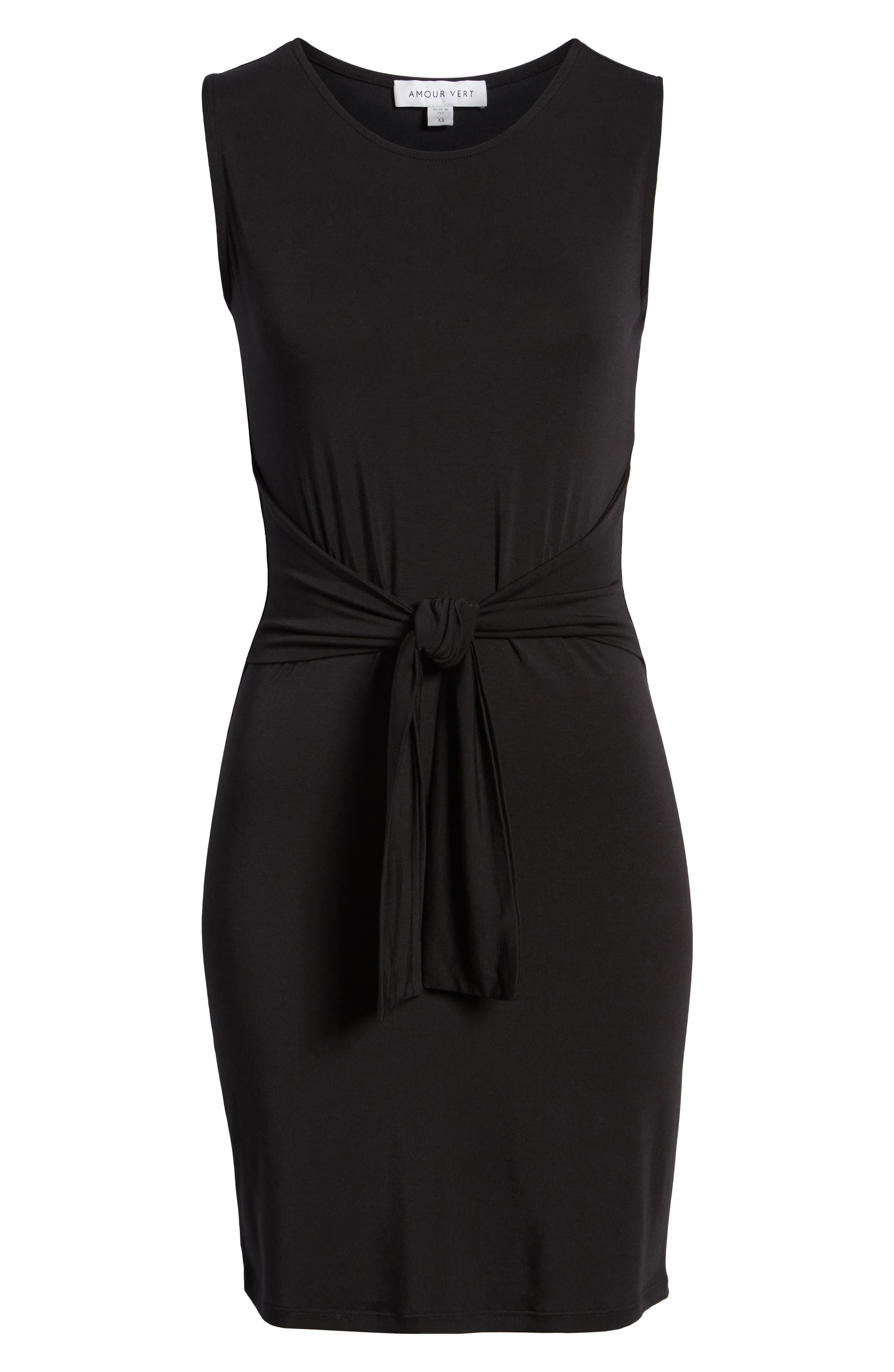 Tie Waist Body-Con Dress,                             Alternate thumbnail 7, color,                             BLACK