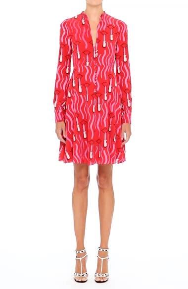 Lipstick Print Silk Fit & Flare Dress, video thumbnail