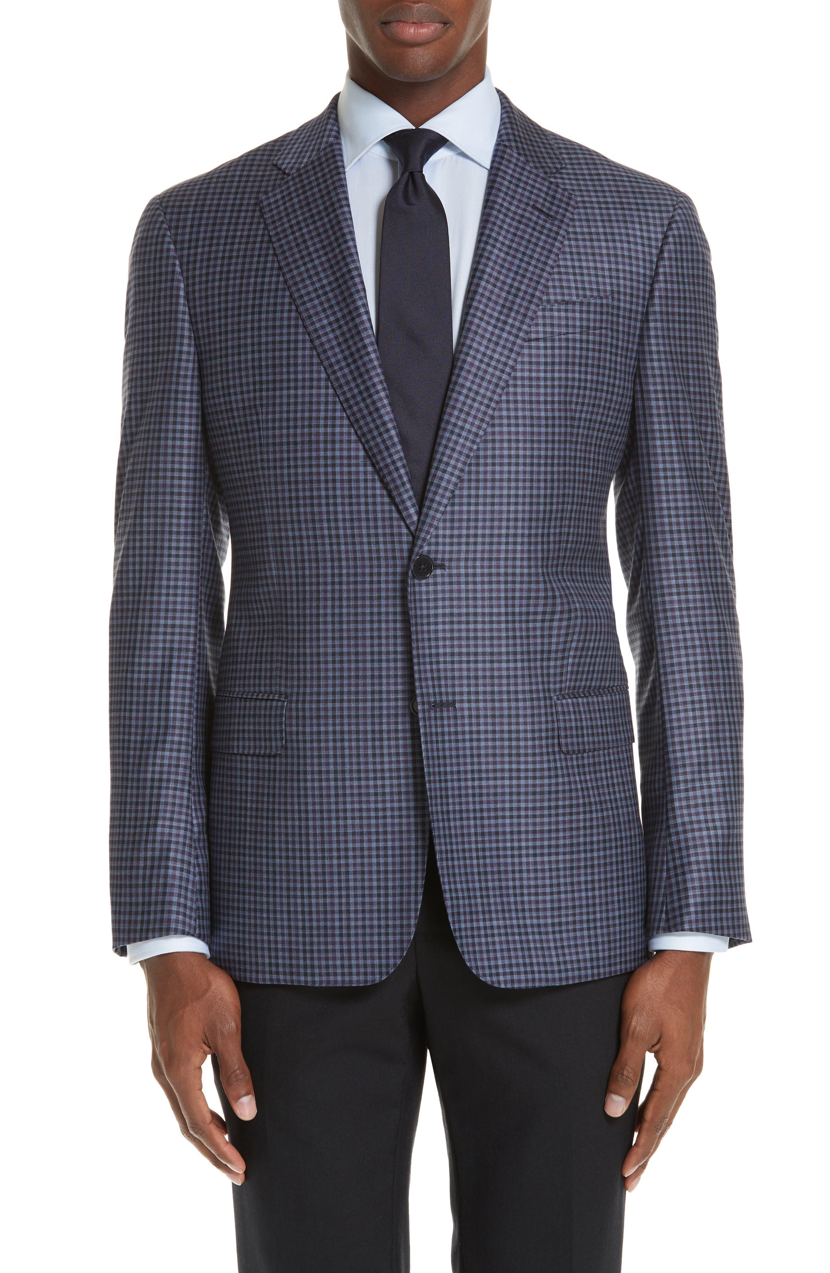 G Line Trim Fit Check Wool Sport Coat,                         Main,                         color, PURPLE