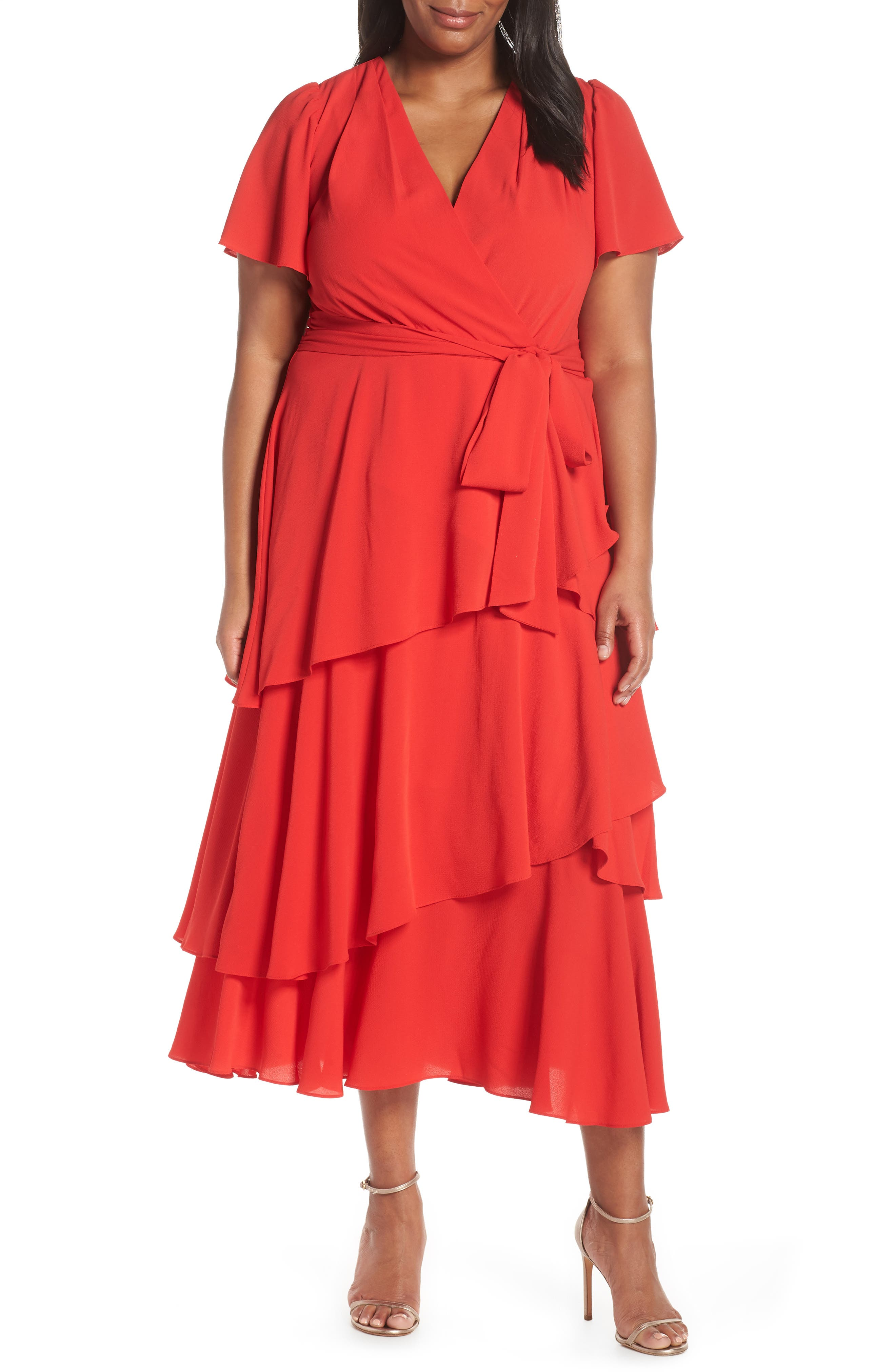 Plus Size Tahari Tiered Faux Wrap Crepe Dress, Red