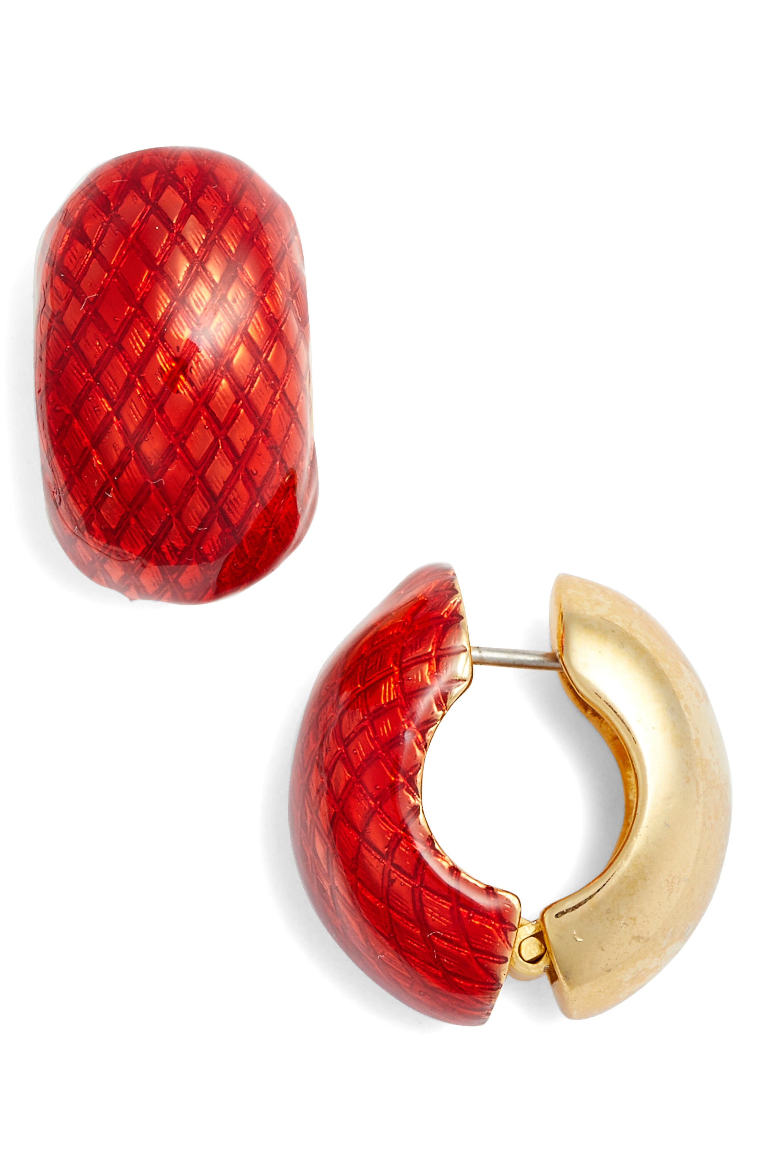 Textured Hug<sup>®</sup> Earrings,                             Main thumbnail 1, color,                             RED