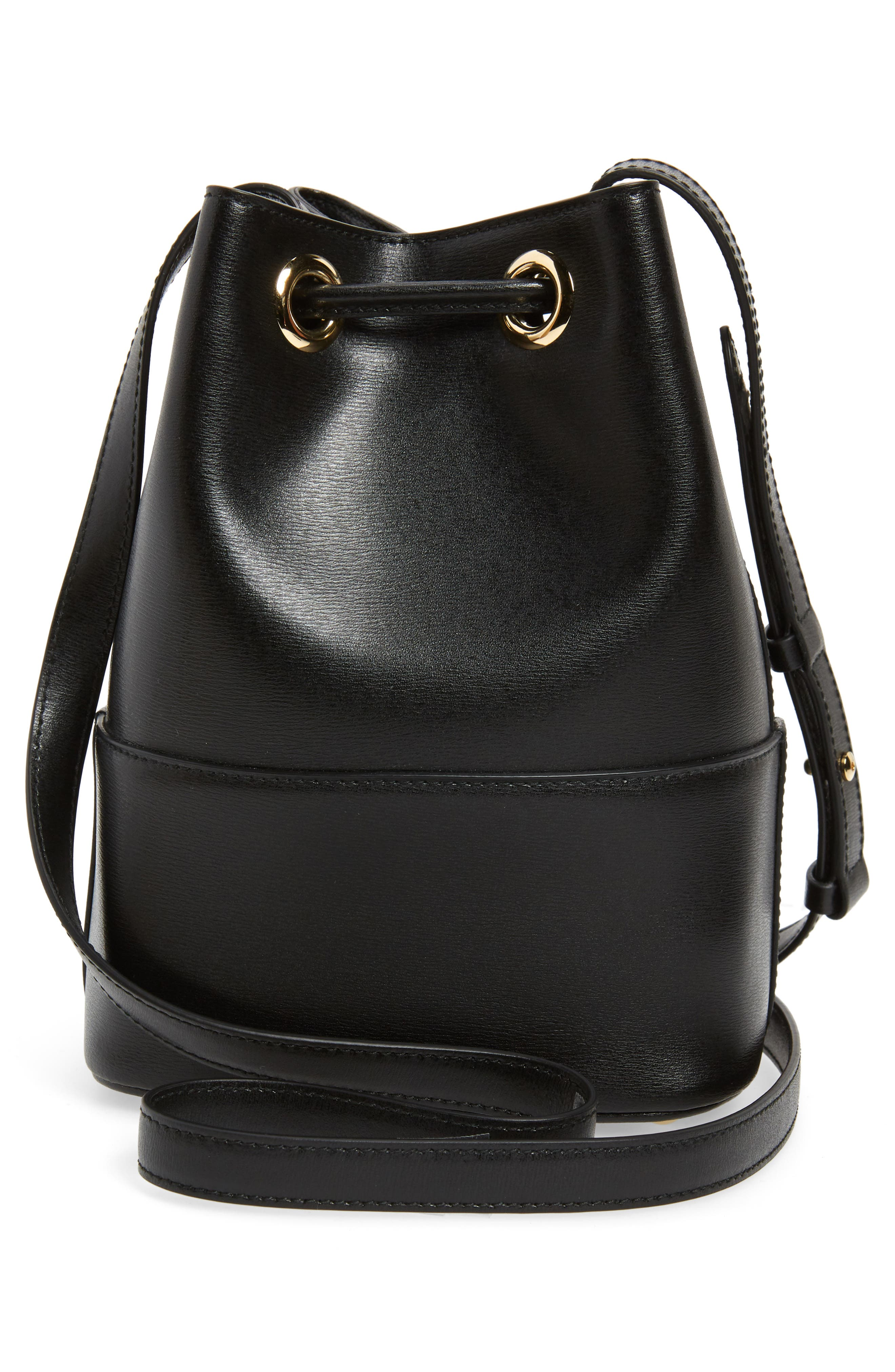 City Quilted Gancio Bucket Bag,                             Alternate thumbnail 3, color,                             BLACK