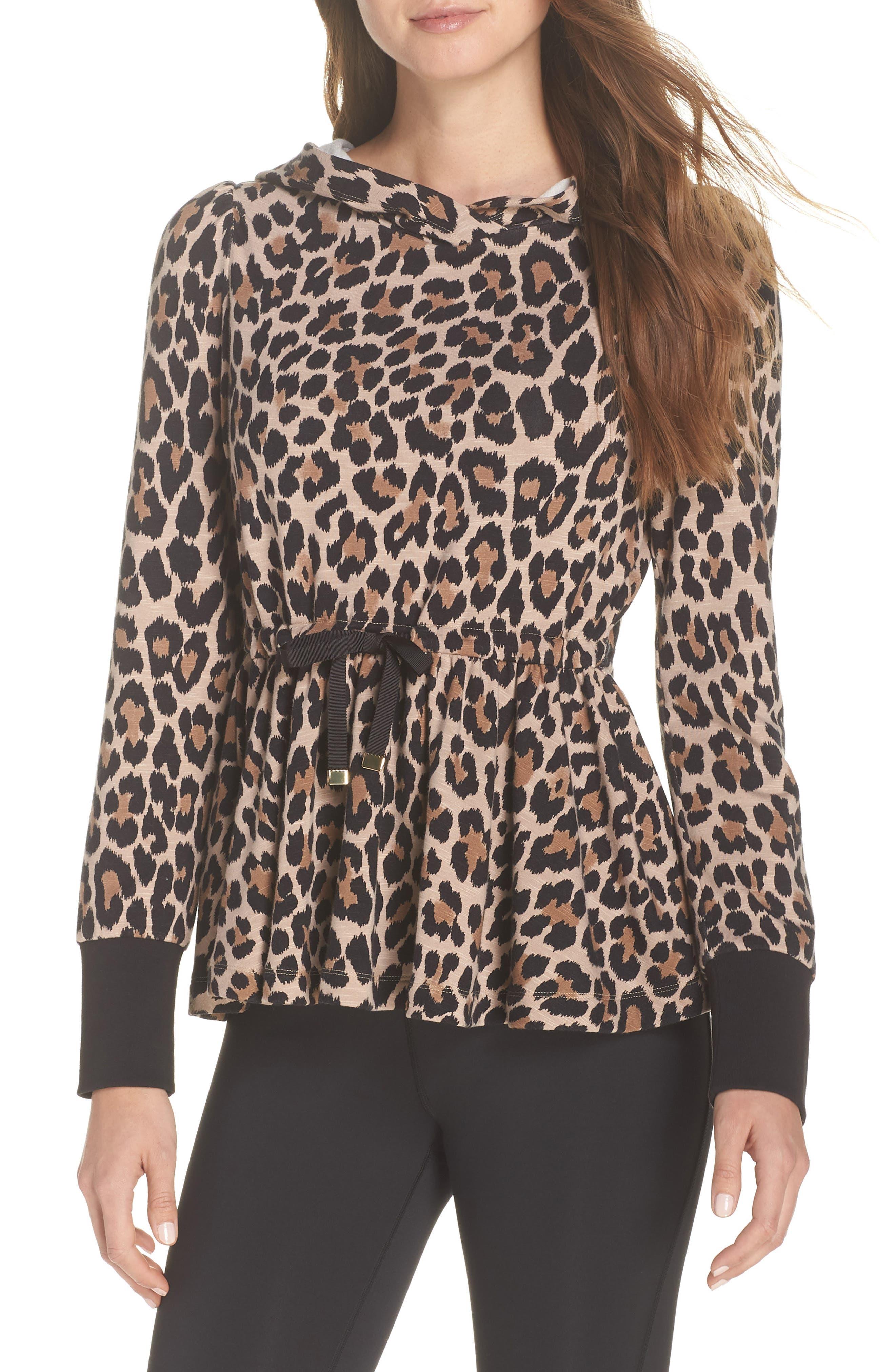 Kate Spade New York Leopard Ruffle Hoodie, Beige