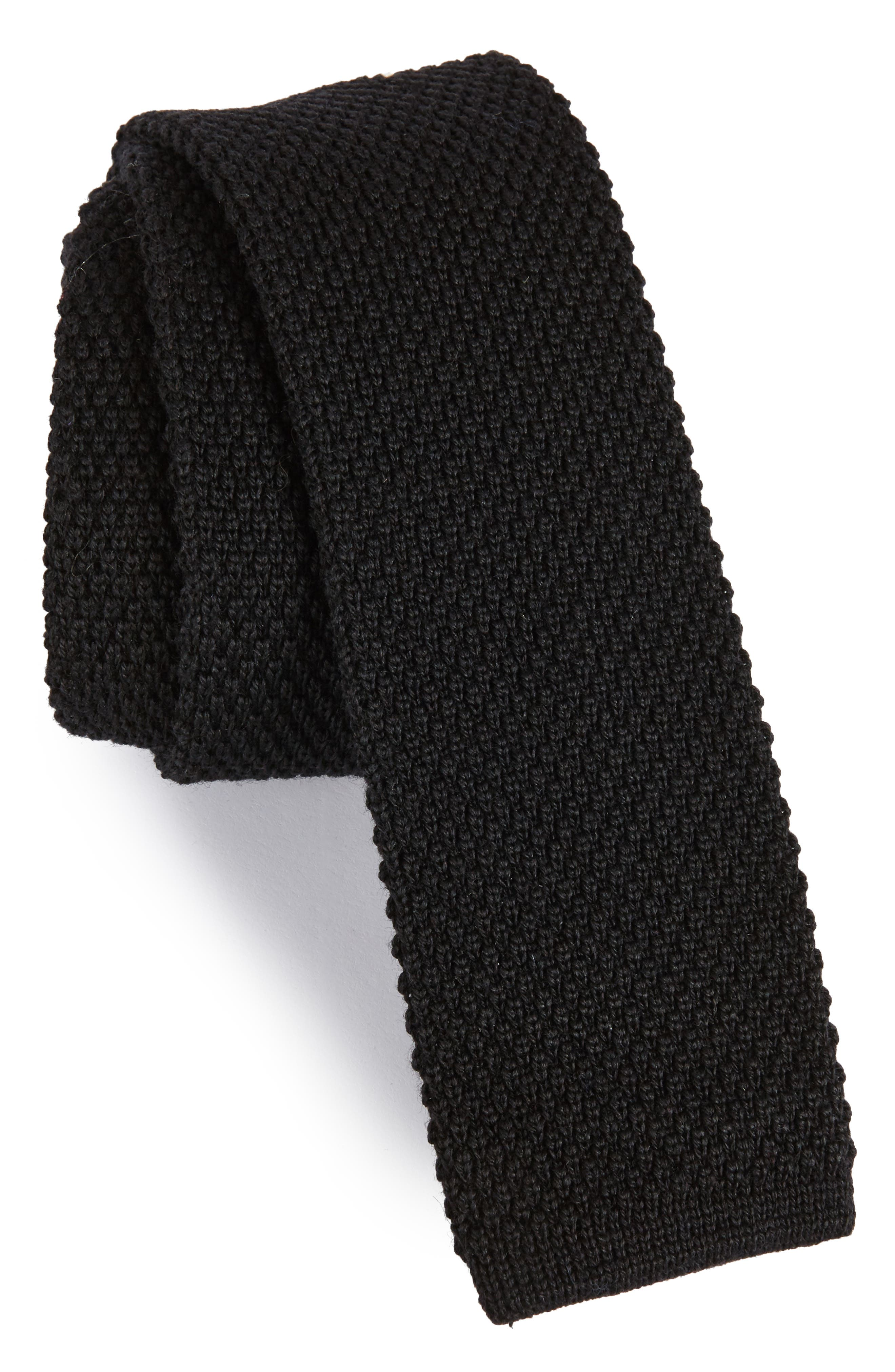 Solid Knit Wool Skinny Tie,                             Main thumbnail 1, color,                             001