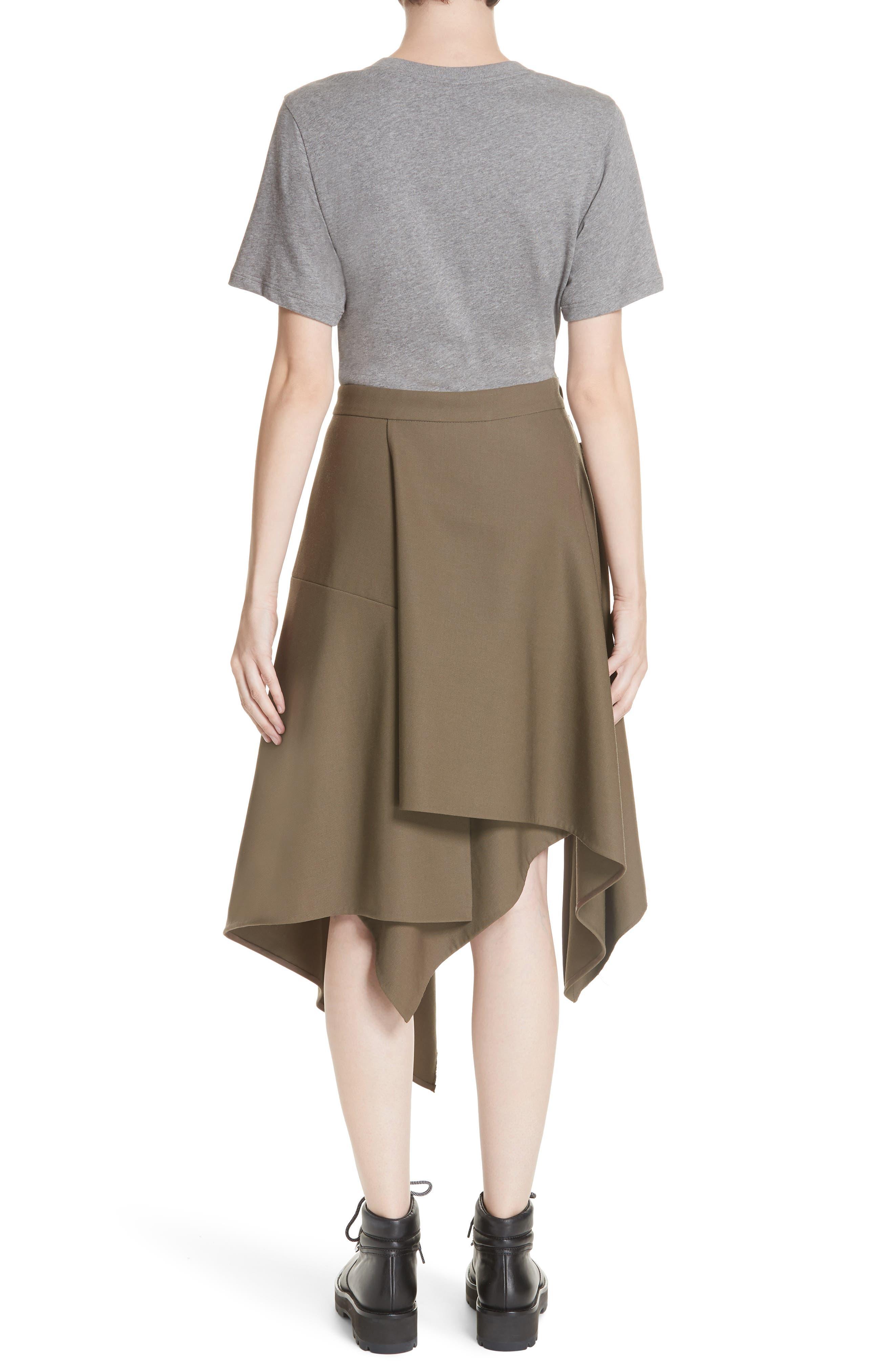 Mixed Media Wool & Cotton T-Shirt Dress,                             Alternate thumbnail 2, color,                             FIR GREEN
