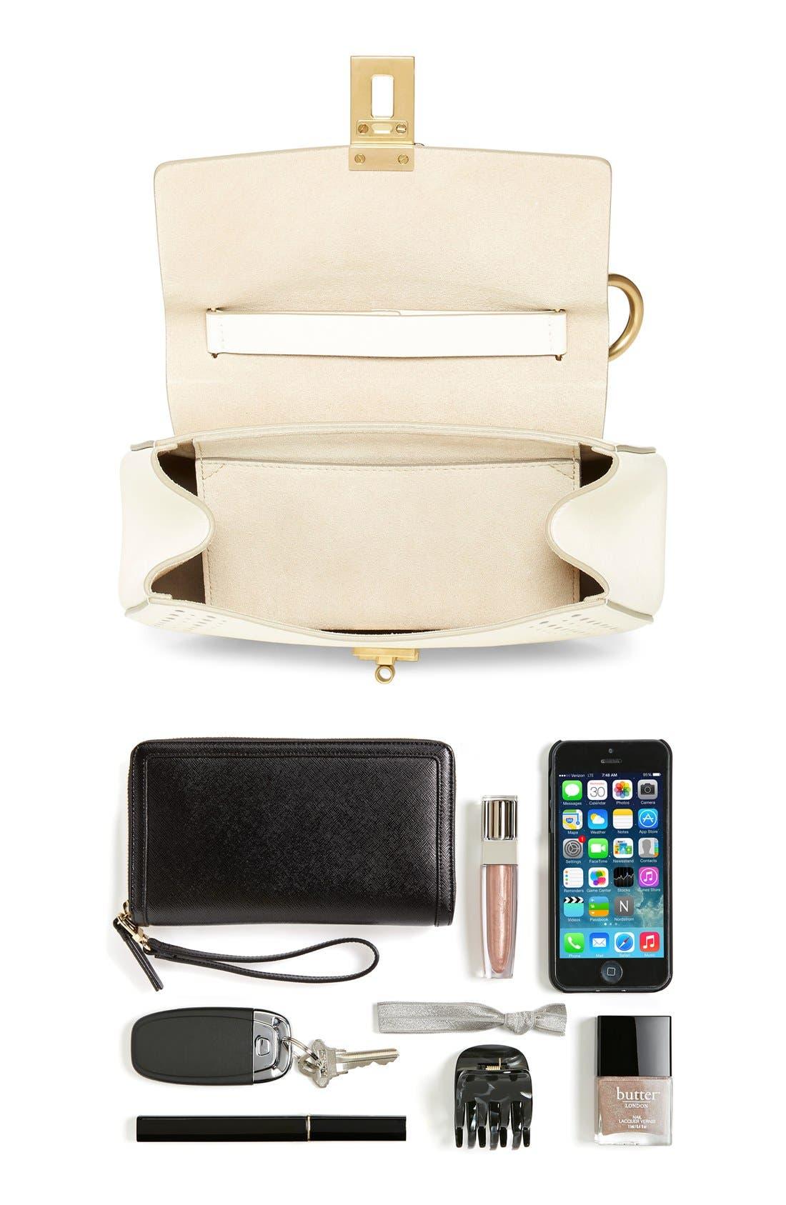 'Mini Drew' Calfskin Leather Shoulder Bag,                             Alternate thumbnail 3, color,                             100