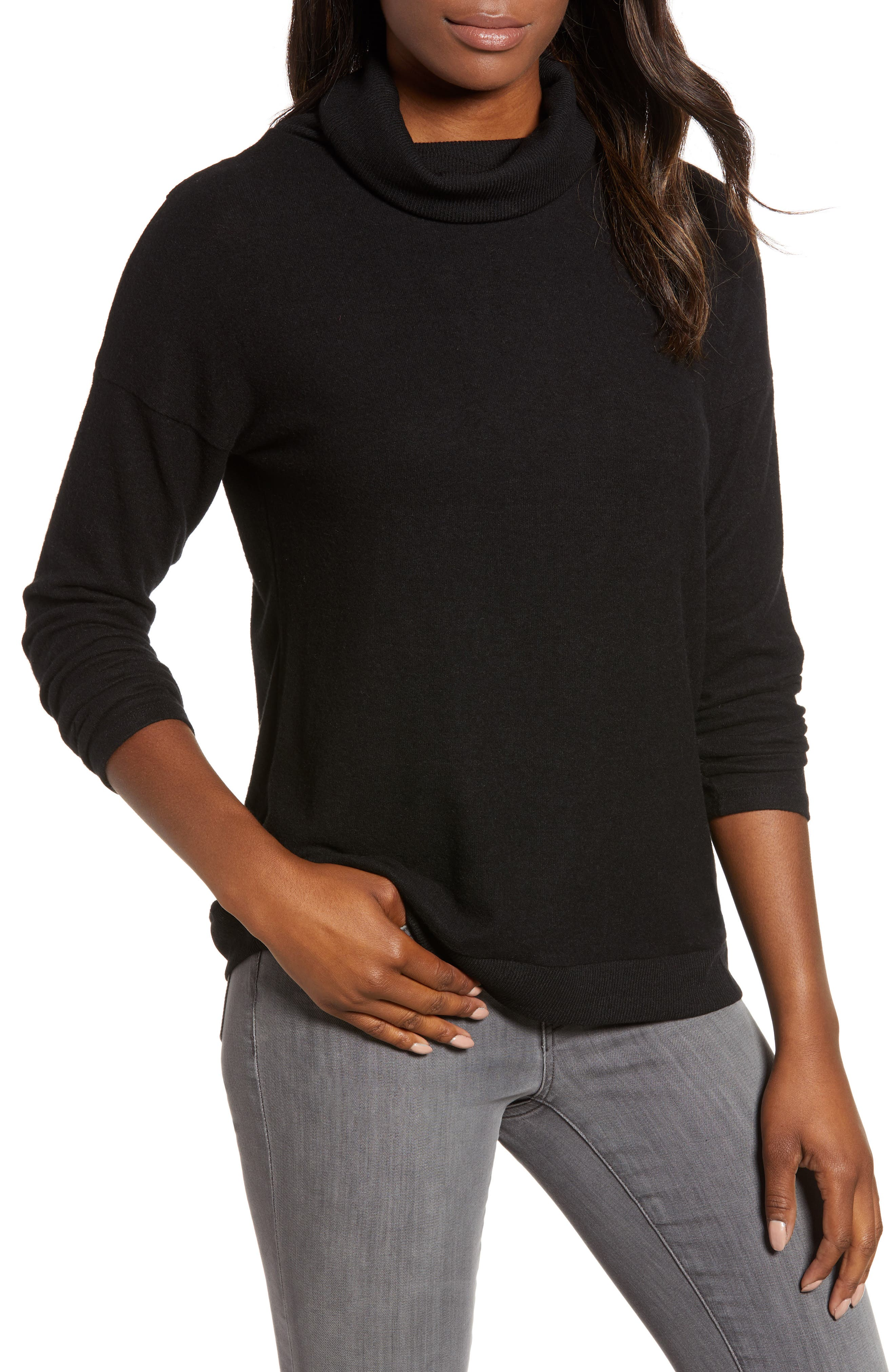 Cozy Turtleneck,                             Main thumbnail 1, color,                             BLACK