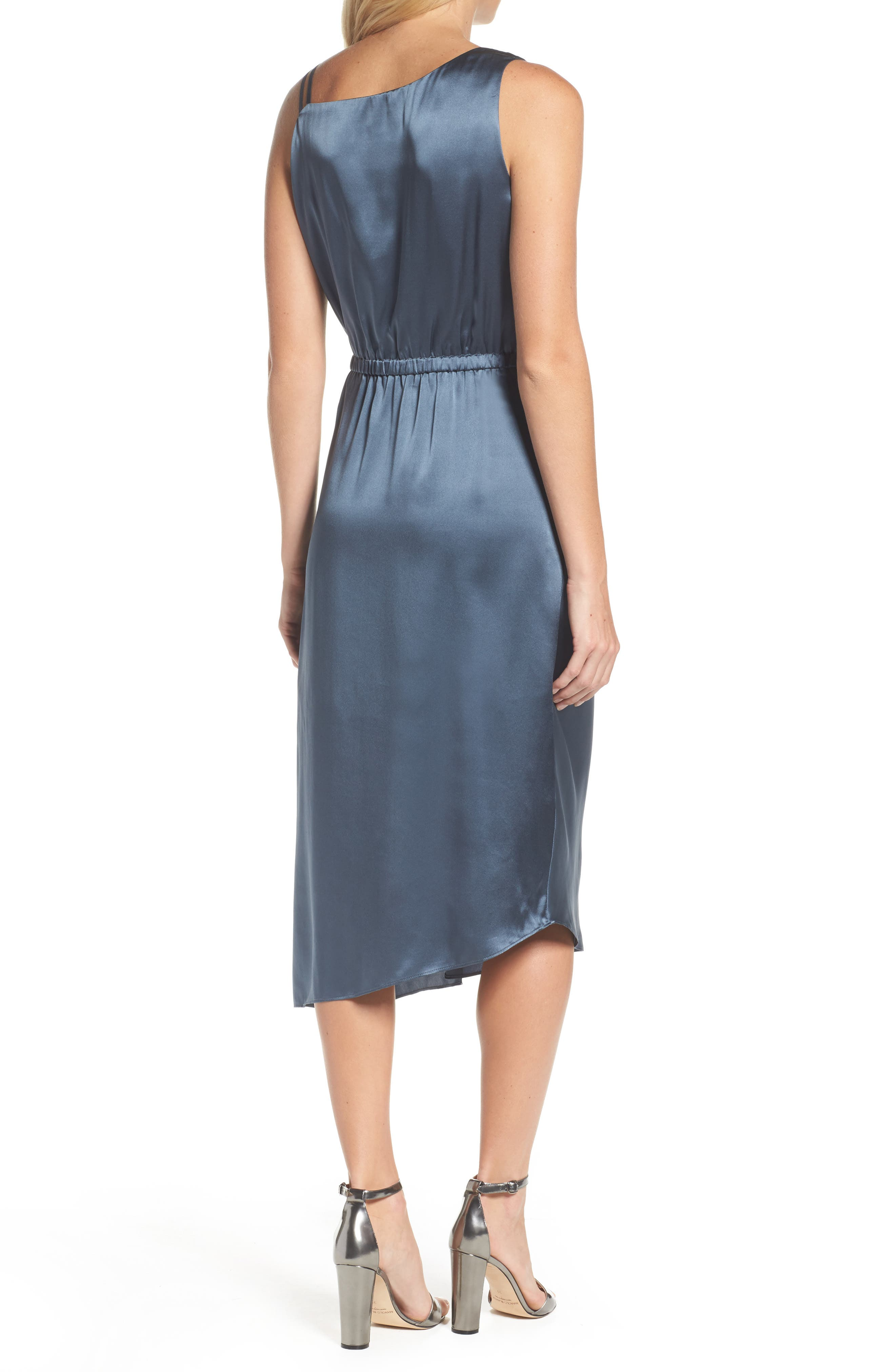 Ruched Satin Sheath Dress,                             Alternate thumbnail 2, color,                             451