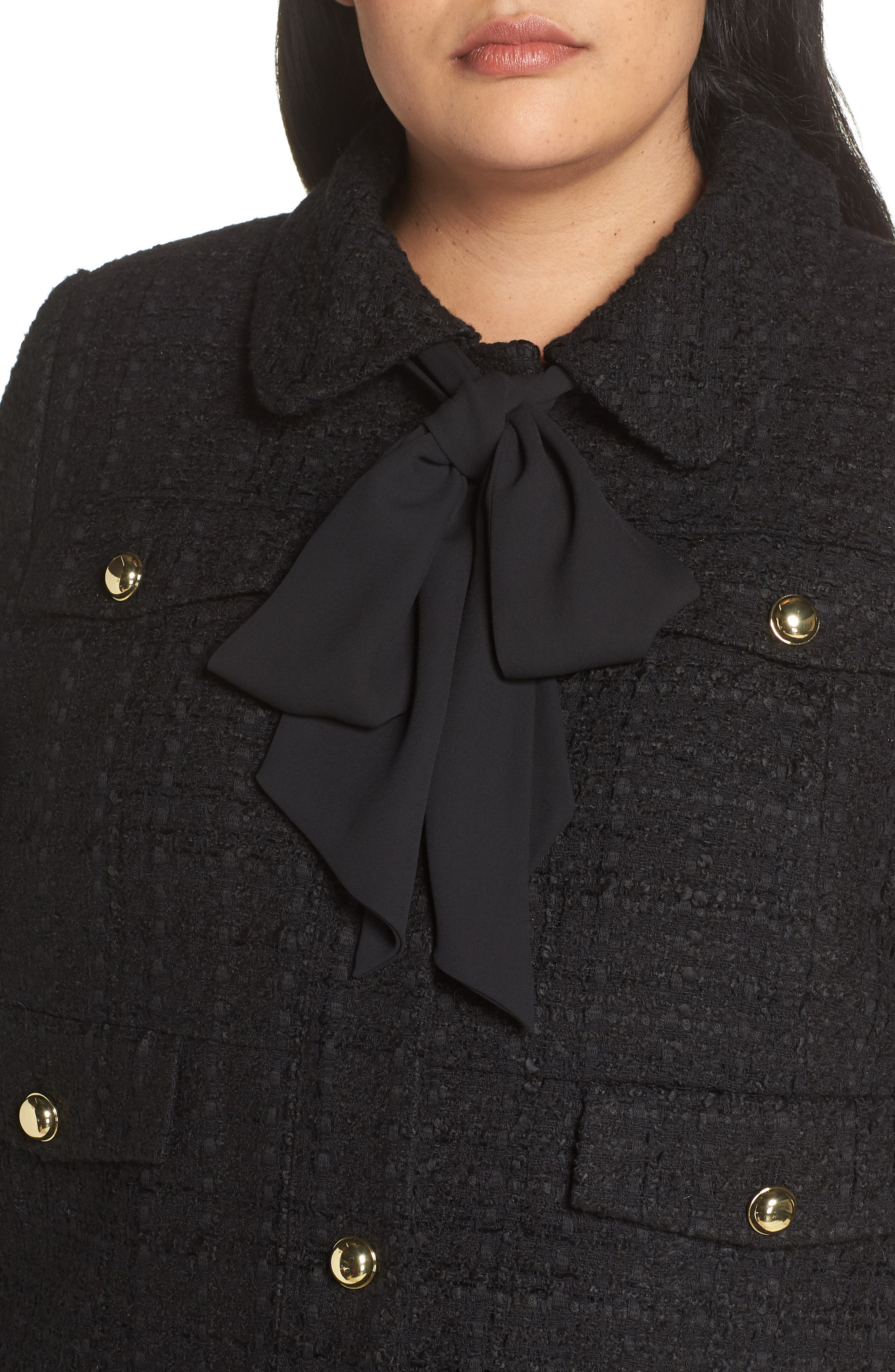 x Atlantic-Pacific Bow Detail Tweed Jacket,                             Alternate thumbnail 4, color,                             001