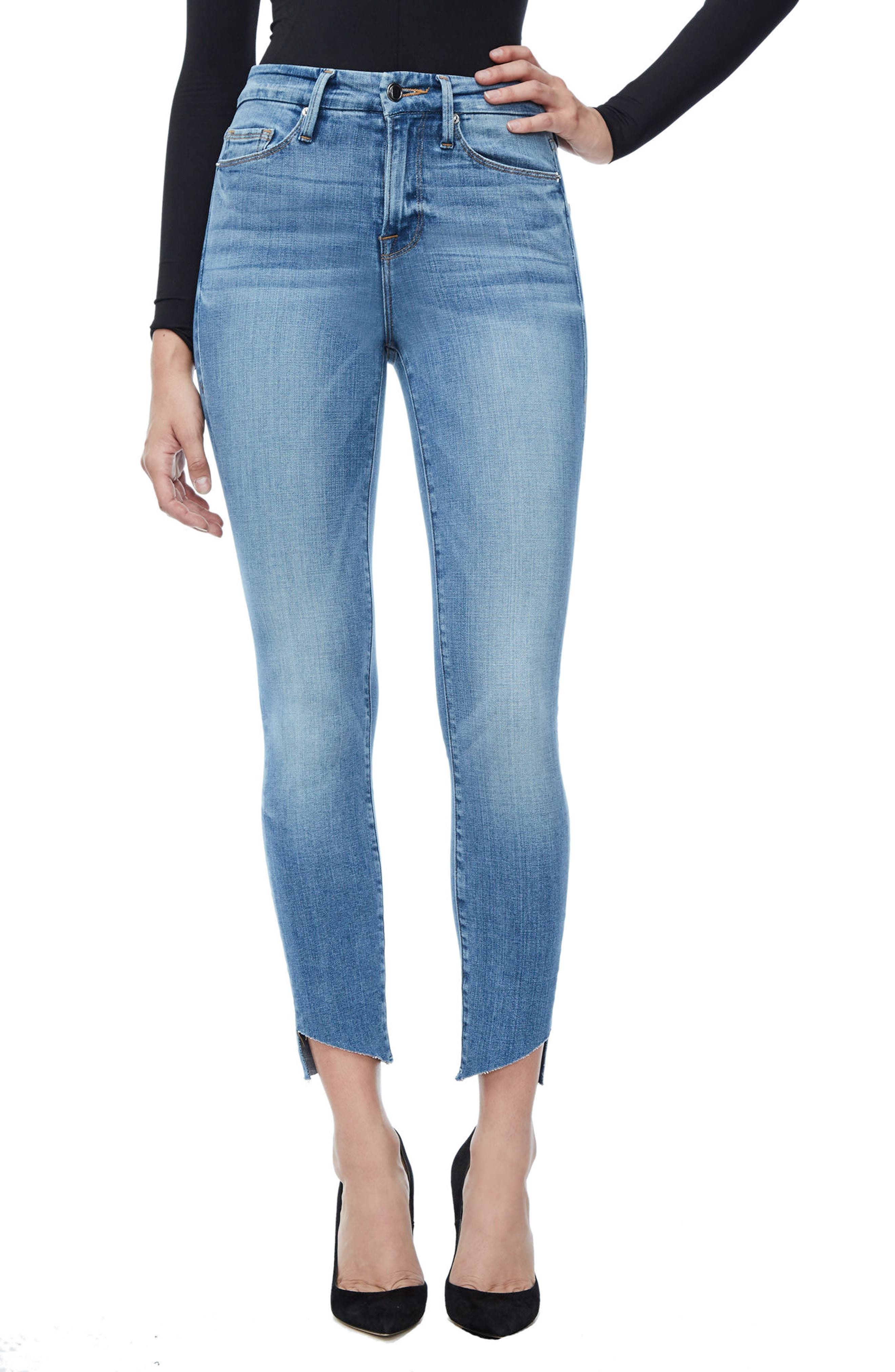 Good Legs High Waist Cascade Hem Skinny Jeans,                         Main,                         color, 401