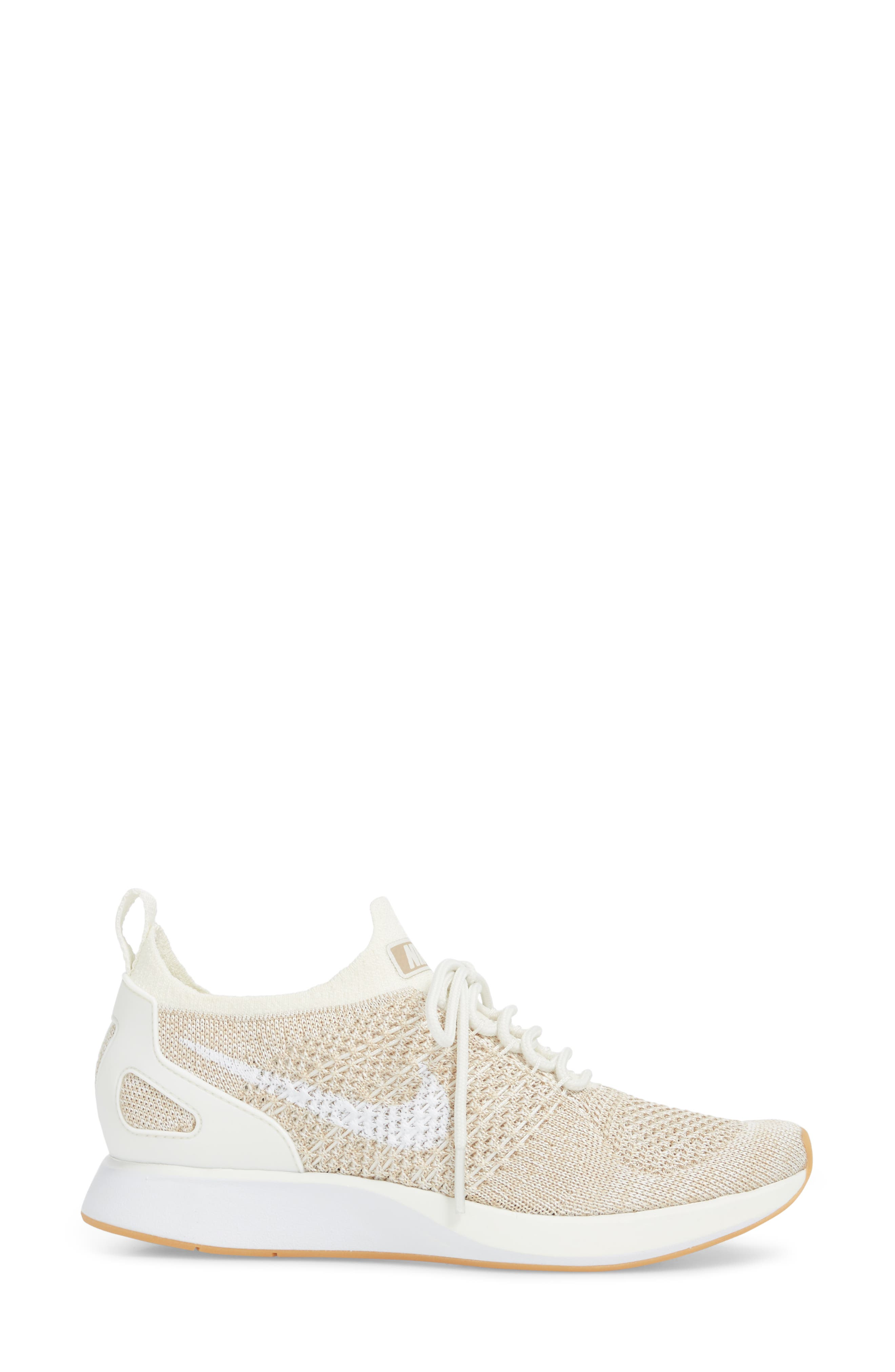 Air Zoom Mariah Flyknit Racer Sneaker,                             Alternate thumbnail 3, color,                             SAIL/ WHITE/ SAND