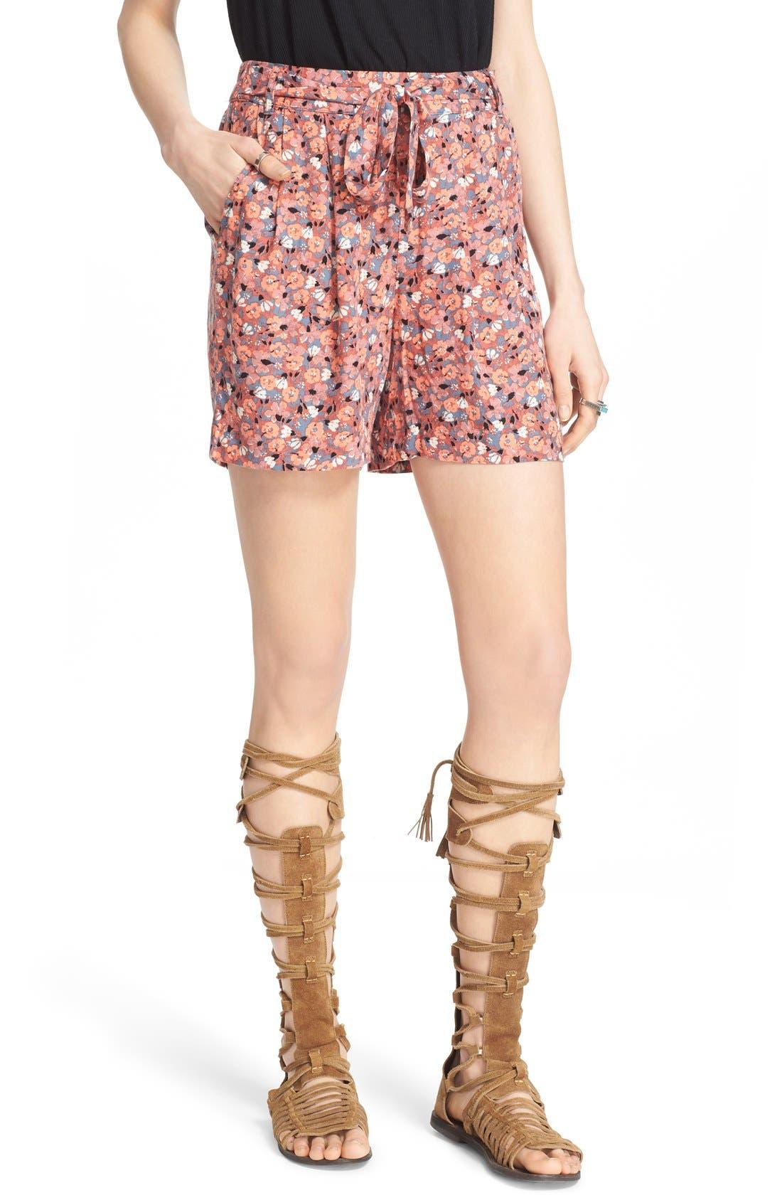 'Layla' Floral Print Shorts,                         Main,                         color, 650