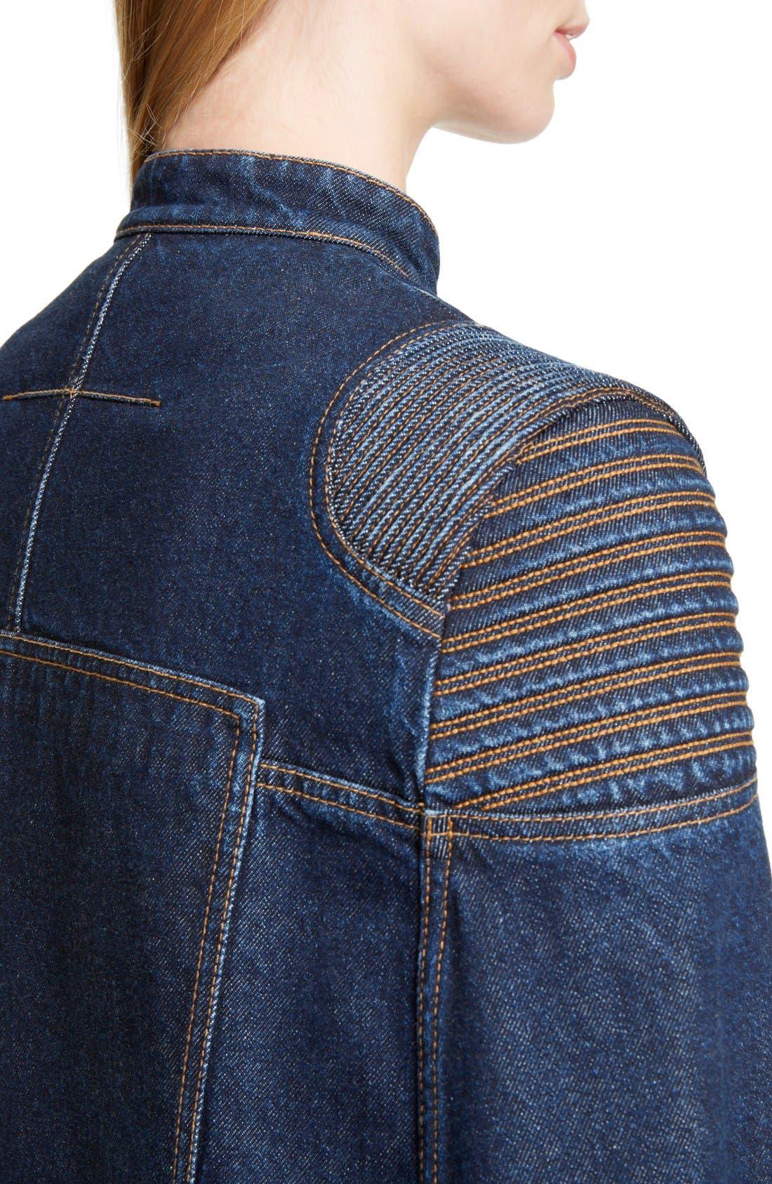 Denim Cape Jacket,                             Alternate thumbnail 4, color,                             401