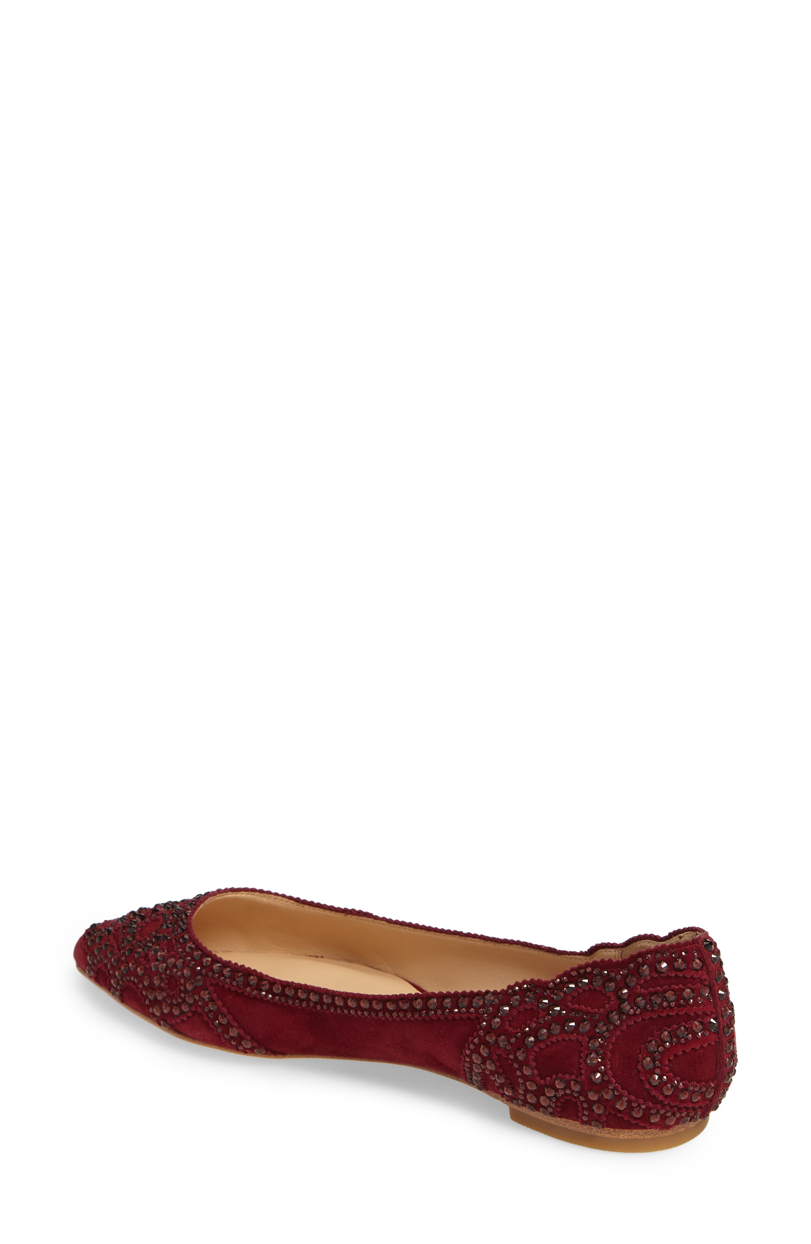 Gigi Crystal Pointy Toe Flat,                             Alternate thumbnail 9, color,
