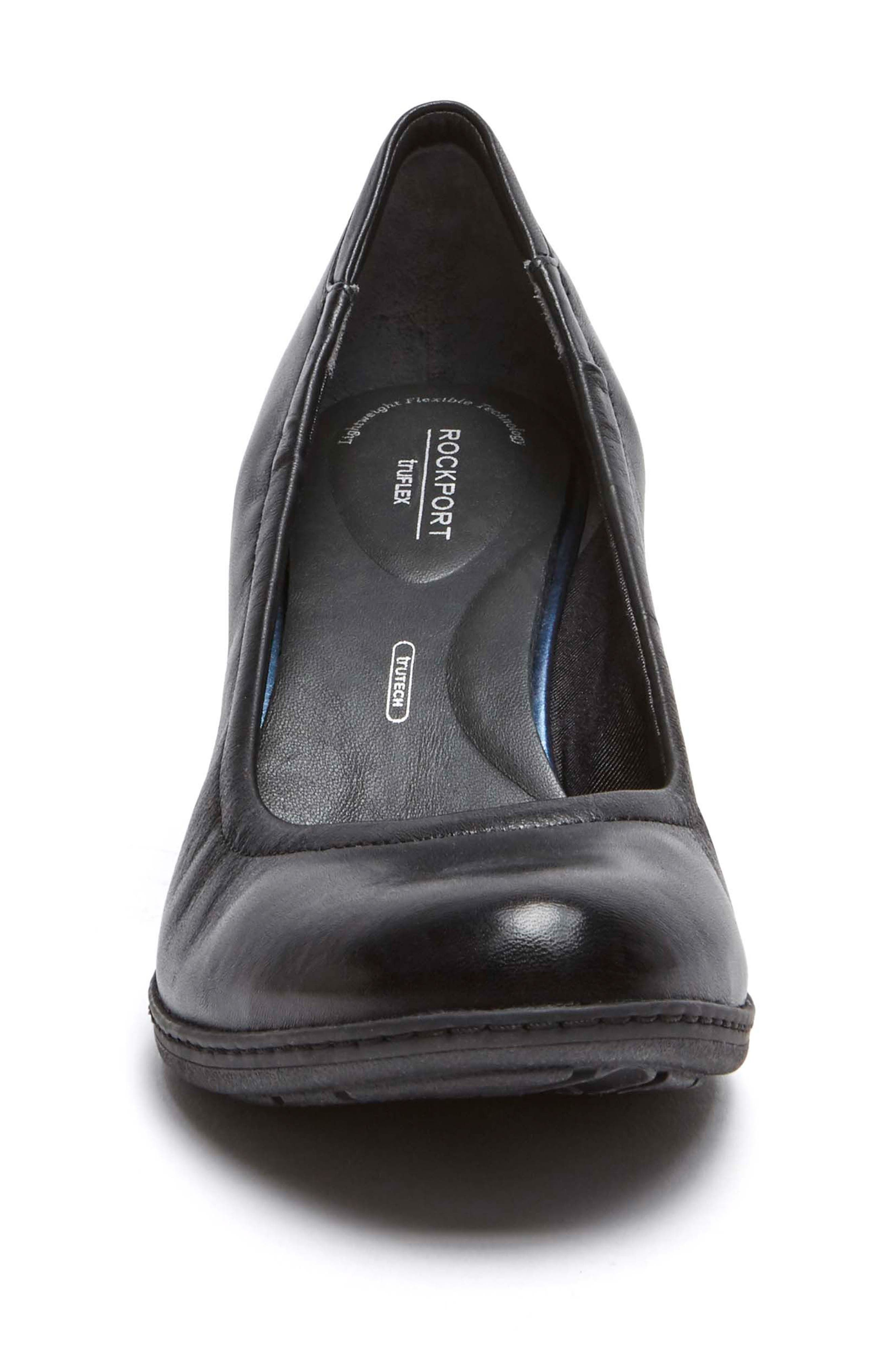 Chaya Round Toe Pump,                             Alternate thumbnail 4, color,                             BLACK LEATHER