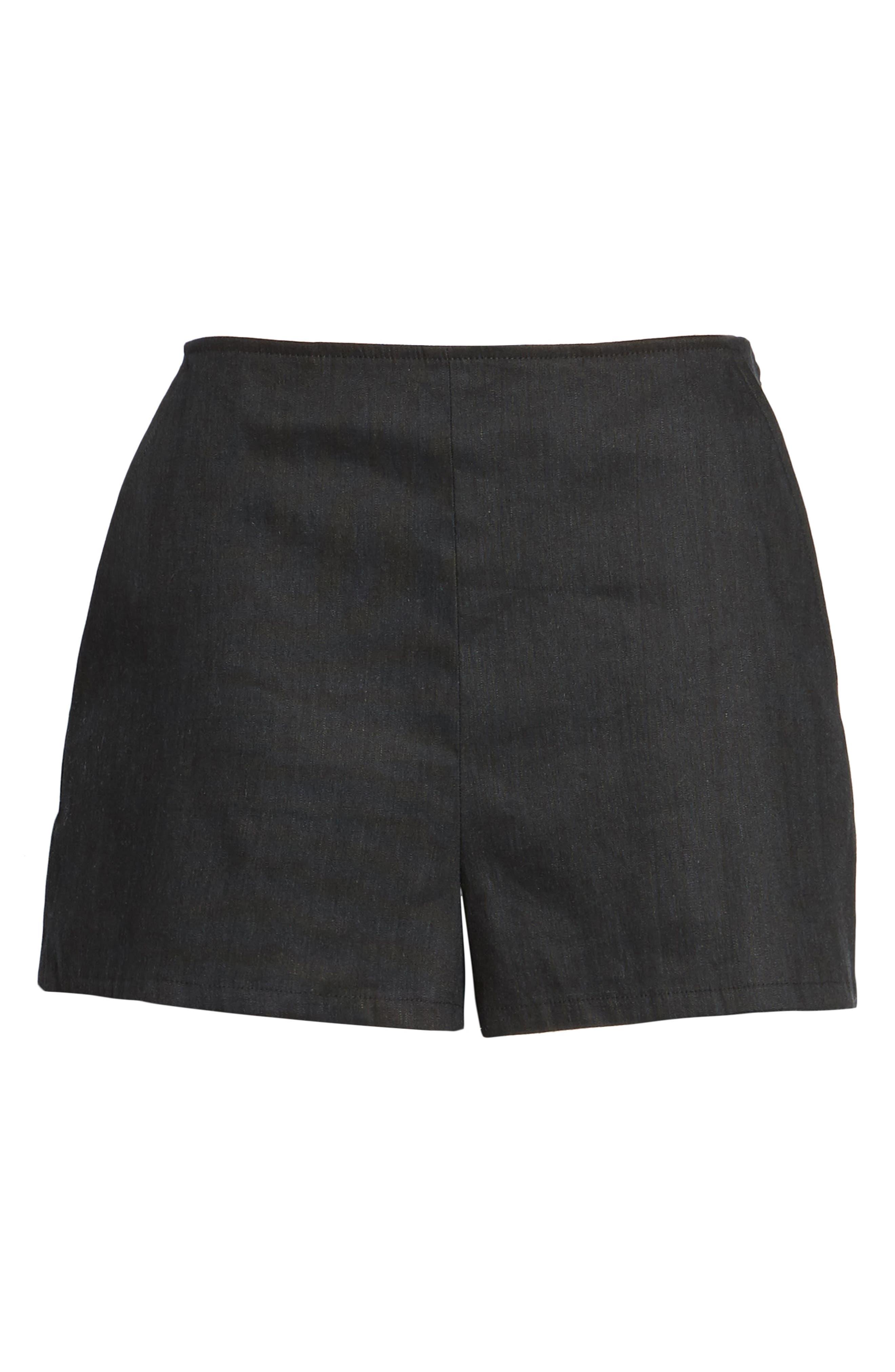 High Waist Linen Blend Shorts,                             Alternate thumbnail 6, color,                             001