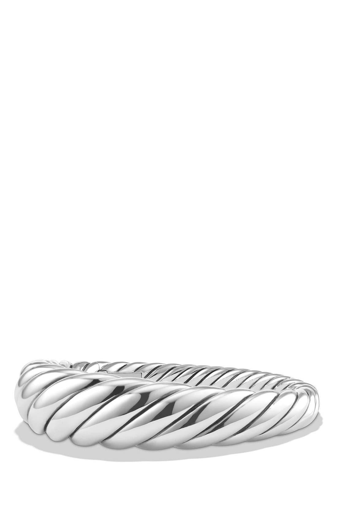 'Pure Form' Cable Bracelet,                             Main thumbnail 1, color,                             SILVER