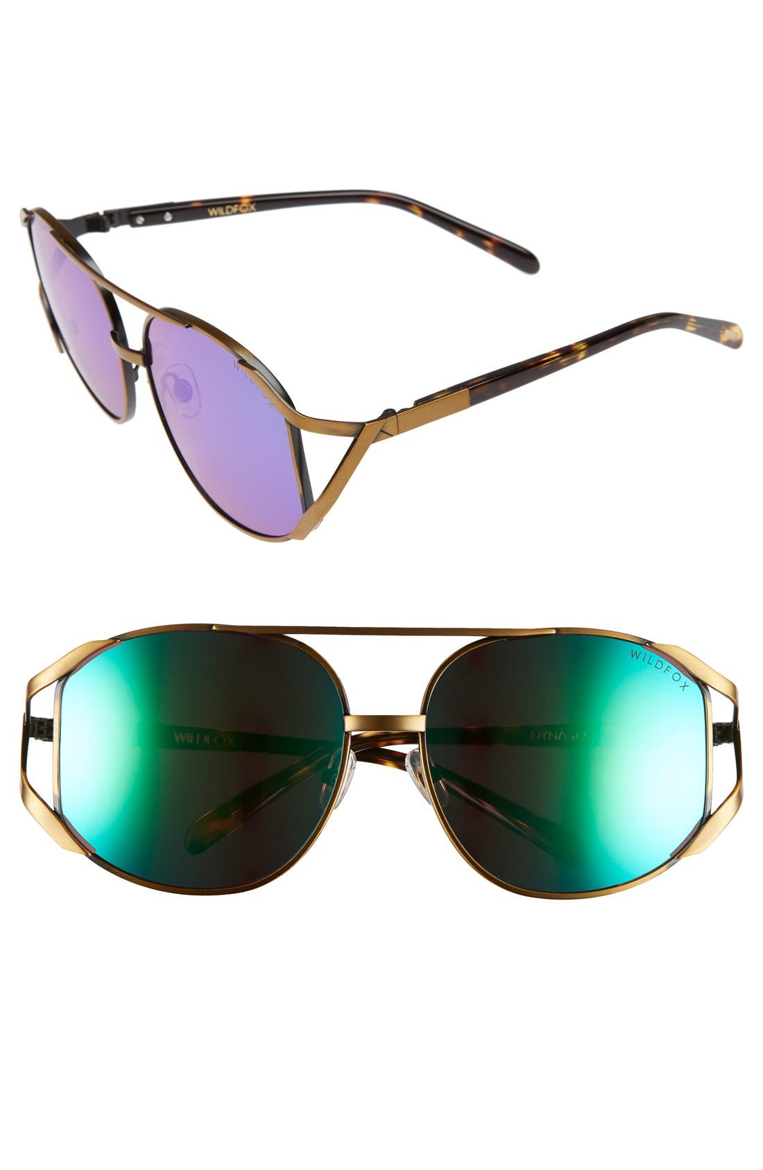 WILDFOX 'Dynasty Deluxe' 59mm Retro Sunglasses, Main, color, 710